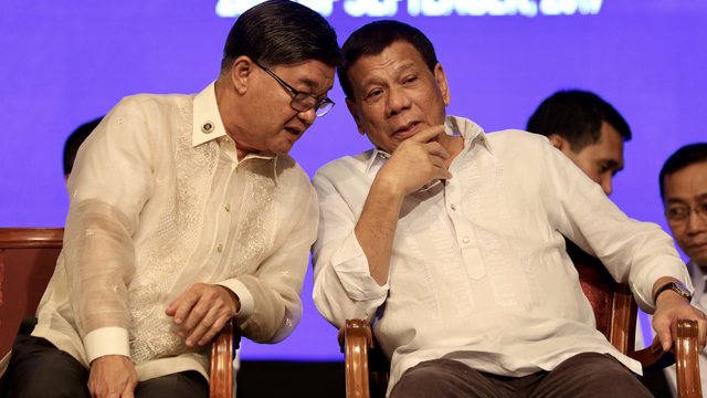 FRAT BROTHERS. President Rodrigo Duterte has a long friendship with Justice Secretary Vitaliano Aguirre II. The two are brothers at the San Beda Law Lex Taleonis Fraternity. File photo by Richard Madelo/Presidential photo