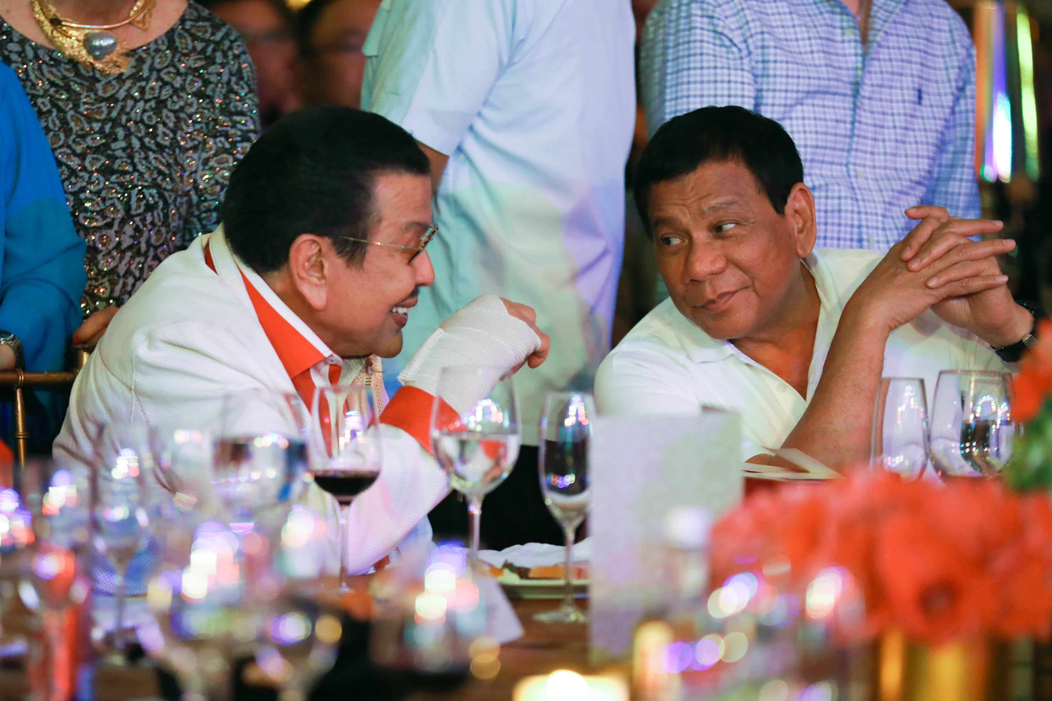 ERAP'S BIRTHDAY. President Rodrigo Duterte at the birthday celebration of former president now Manila Mayor Joseph Estrada on April 19, 2017. Photo by Toto Lozano/Presidential Photo