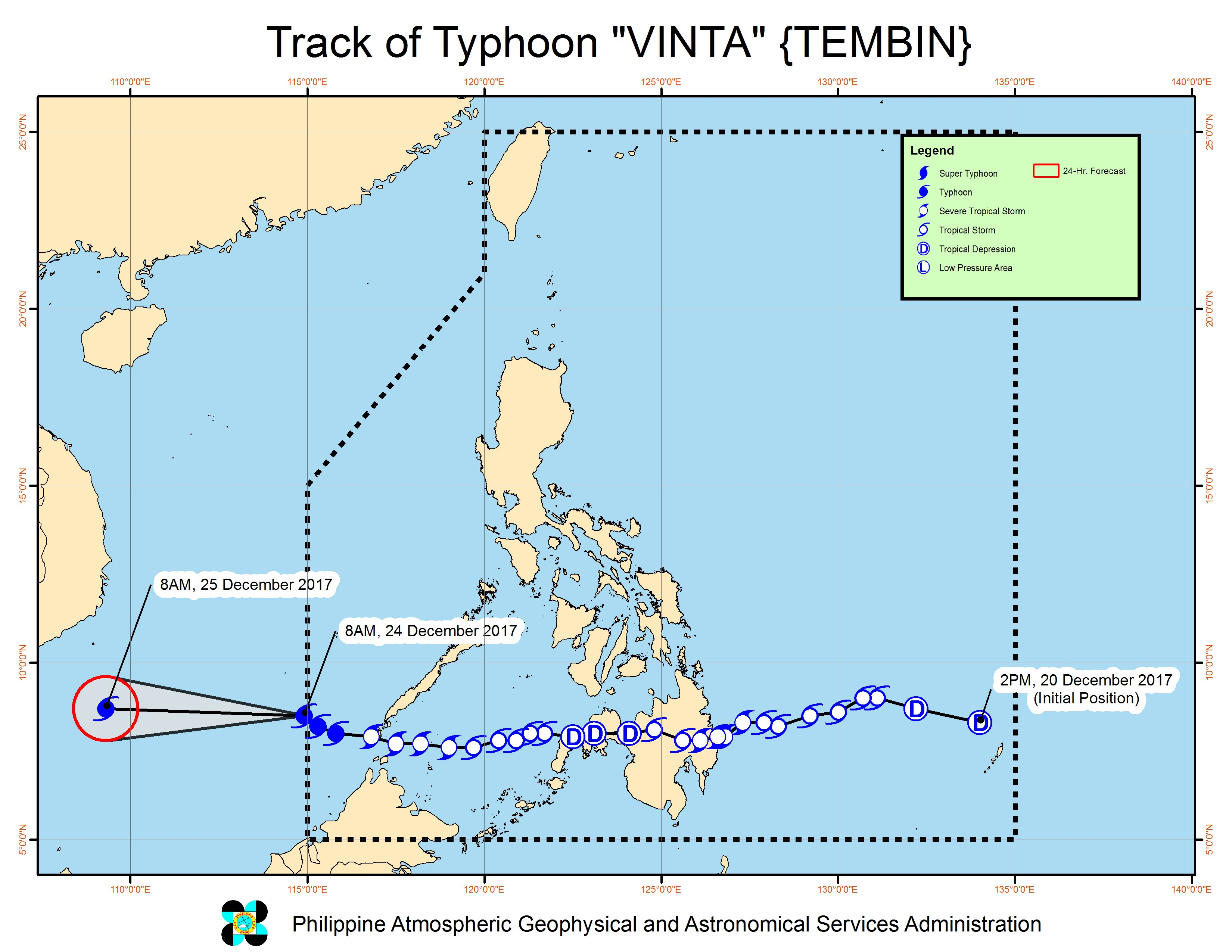 Forecast track of Typhoon Vinta as of December 24, 10:30 am. Image courtesy of PAGASA
