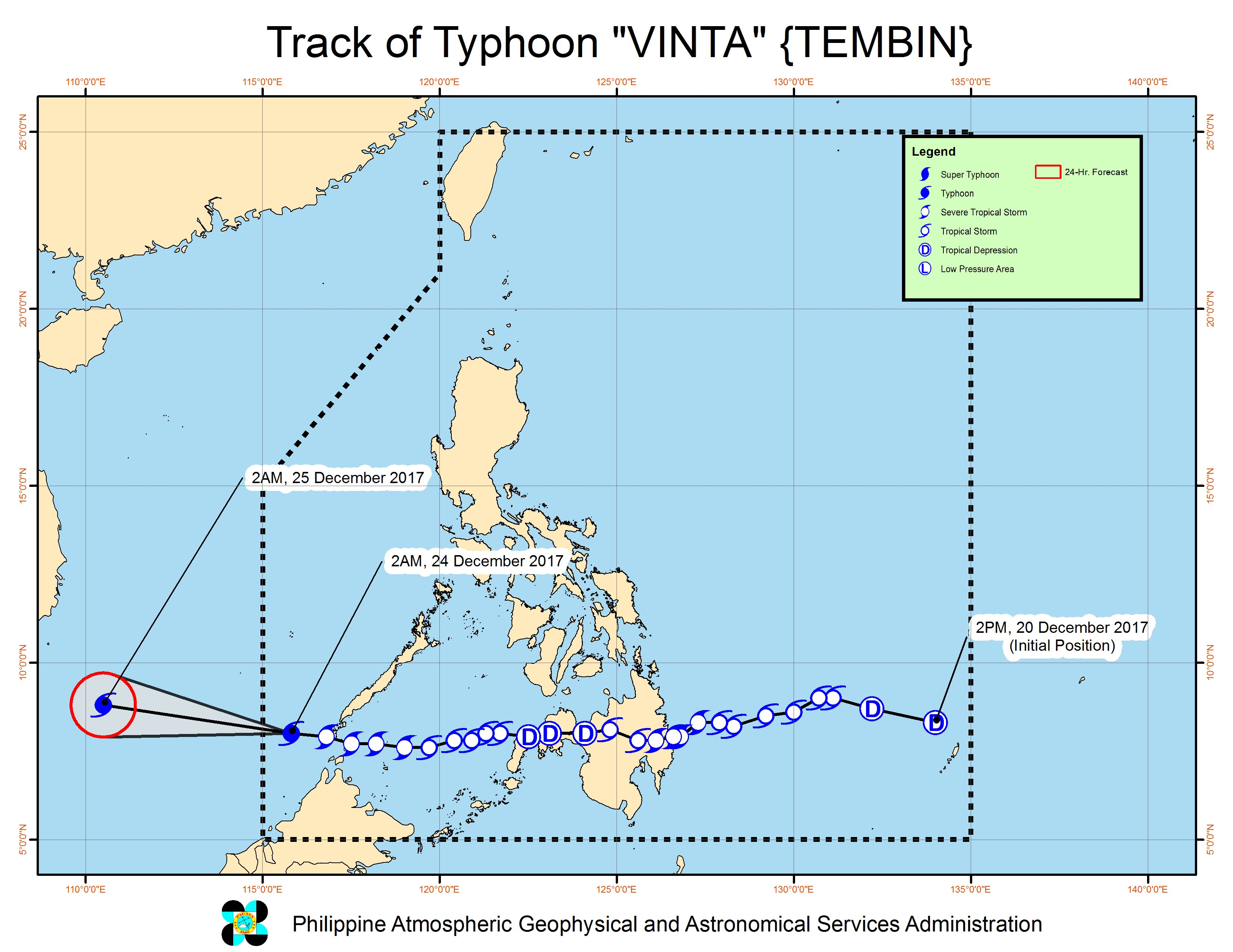Forecast track of Typhoon Vinta as of December 24, 5 am. Image courtesy of PAGASA