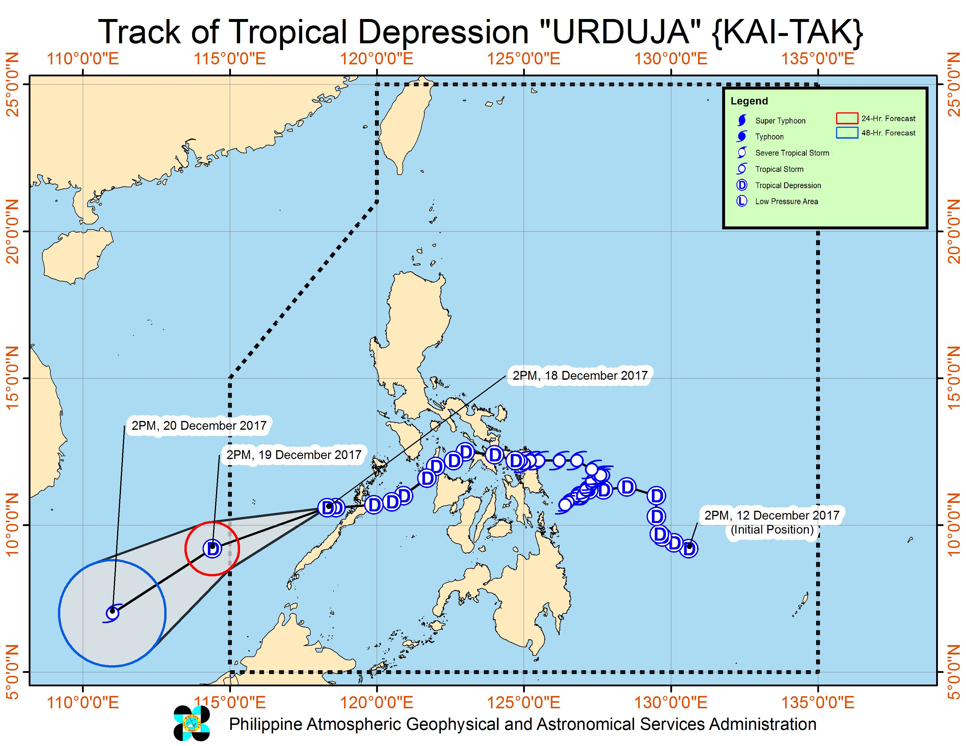 Forecast track of Tropical Depression Urduja as of December 18, 5 pm. Image courtesy of PAGASA