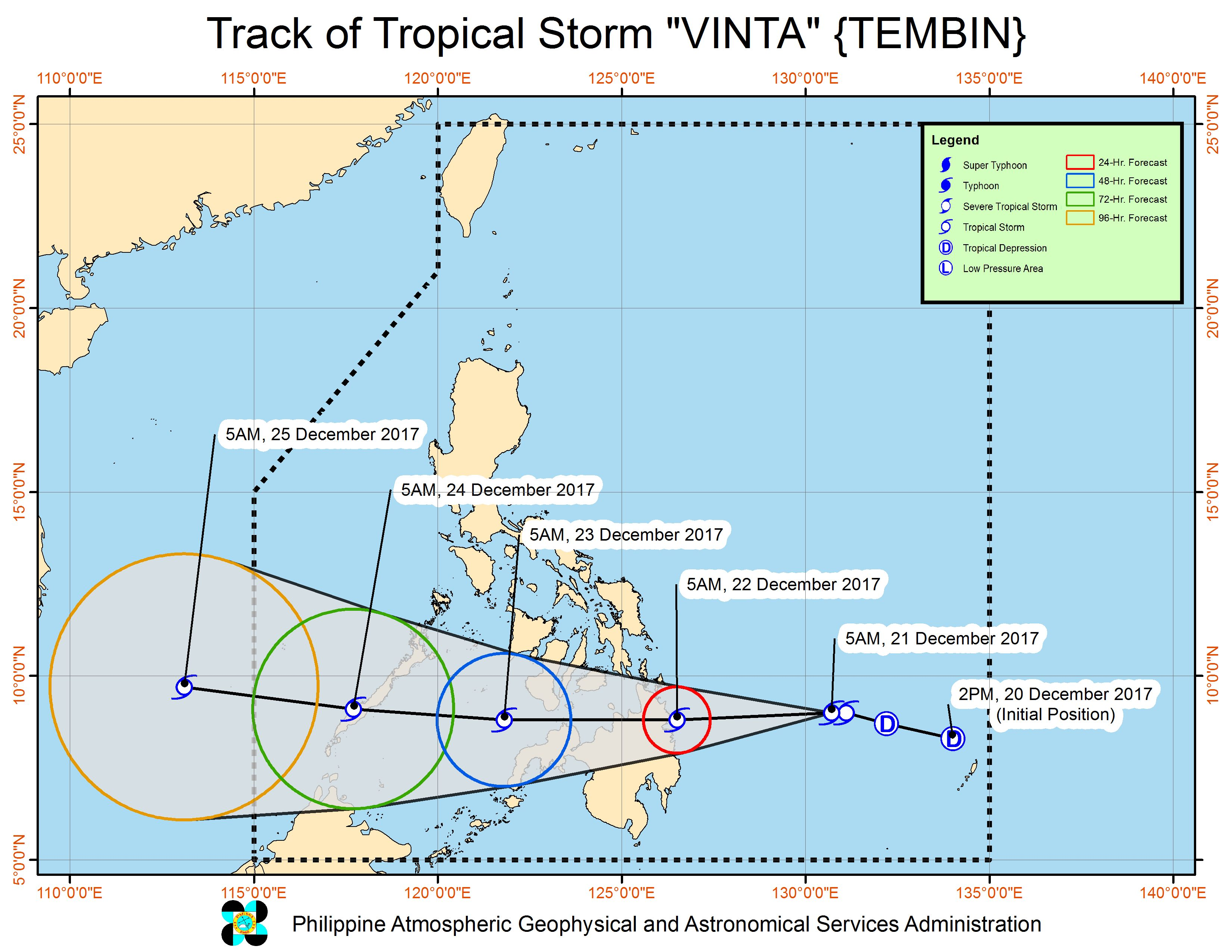 Forecast track of Tropical Storm Vinta as of December 21, 8 am. Image courtesy of PAGASA