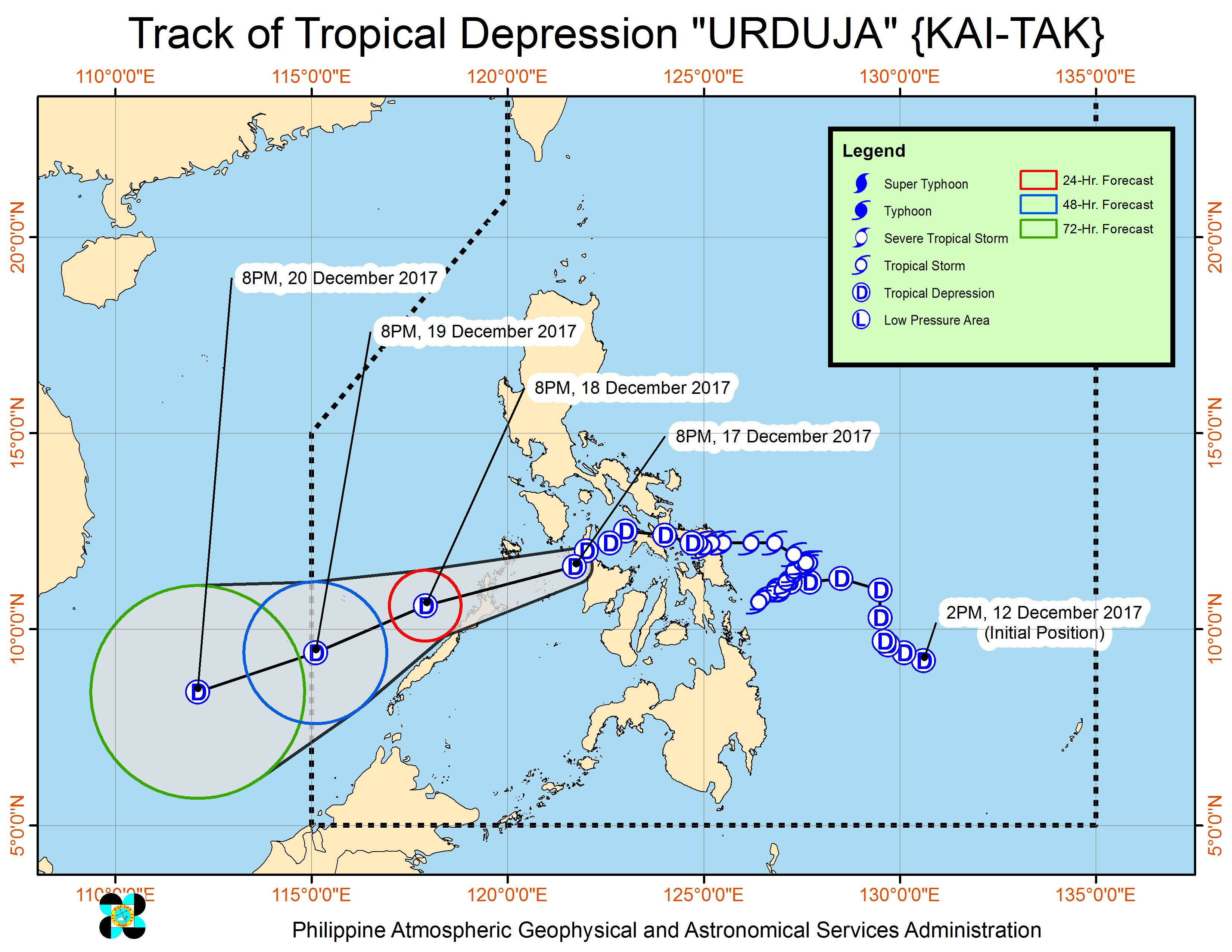 Forecast track of Tropical Depression Urduja as of December 17, 11 pm. Image courtesy of PAGASA