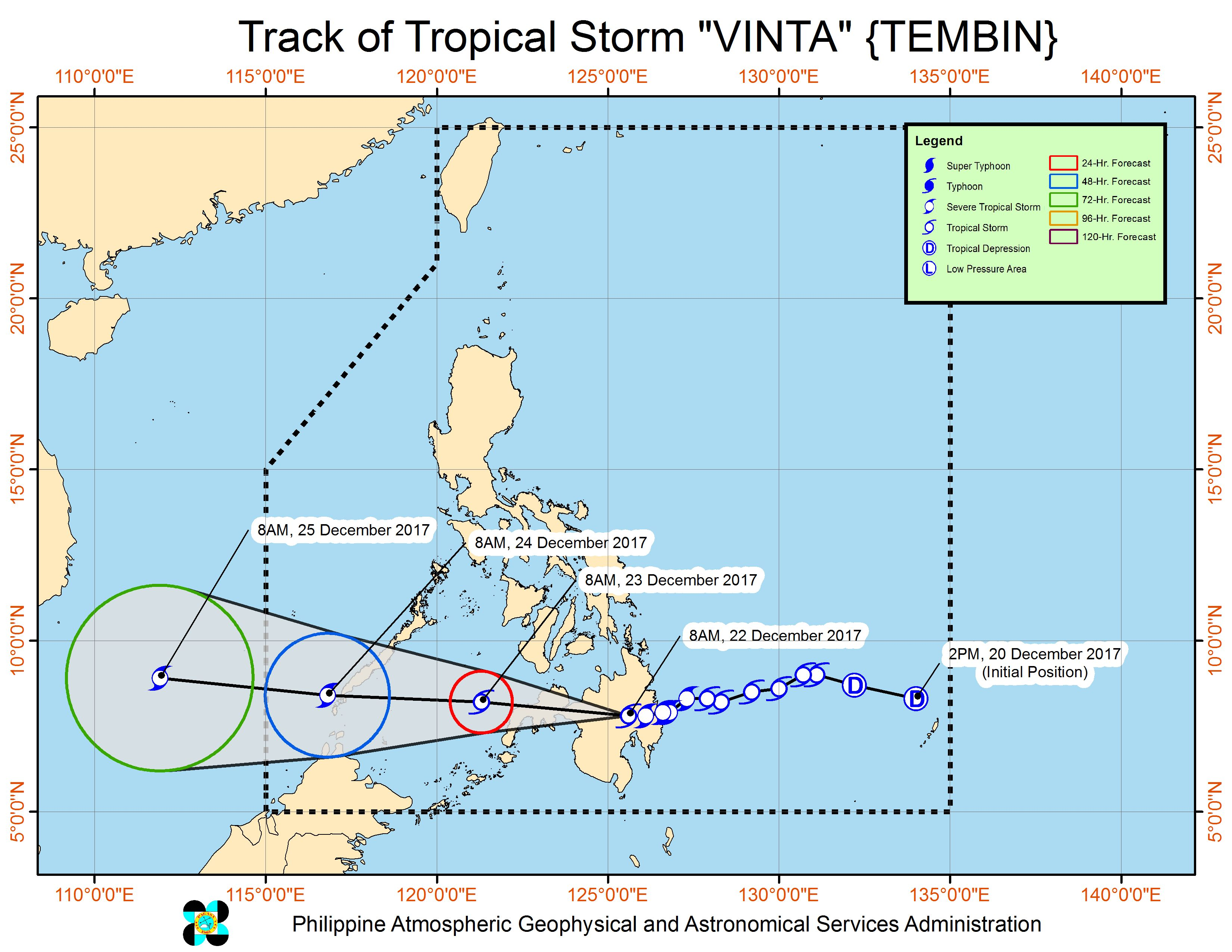 Forecast track of Tropical Storm Vinta as of December 22, 11 am. Image courtesy of PAGASA
