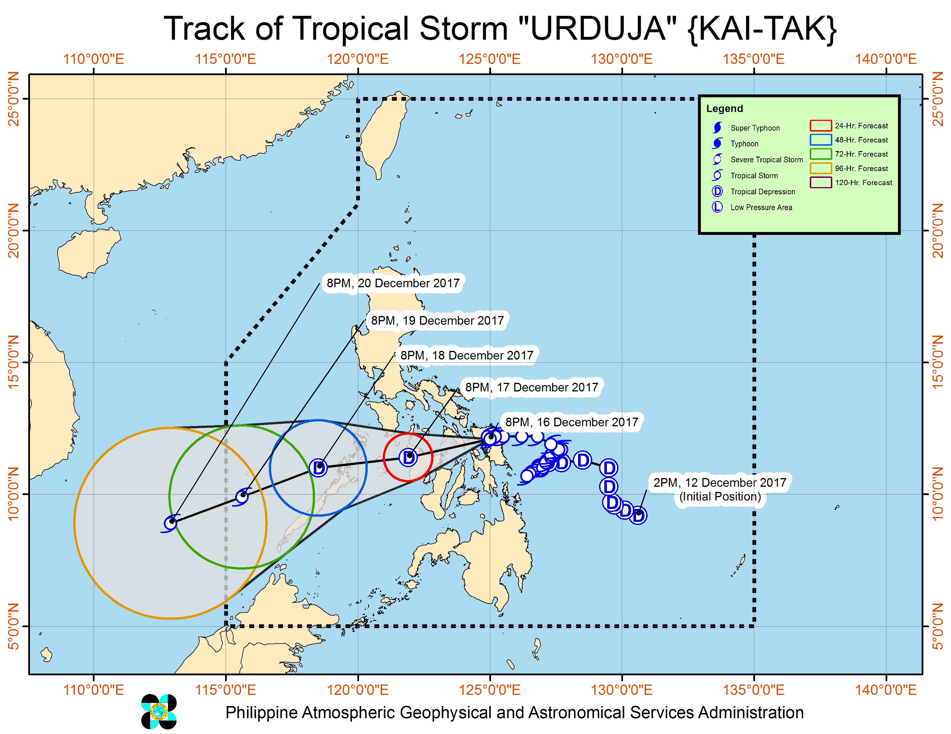 Forecast track of Tropical Storm Urduja as of December 16, 11 pm. Image courtesy of PAGASA