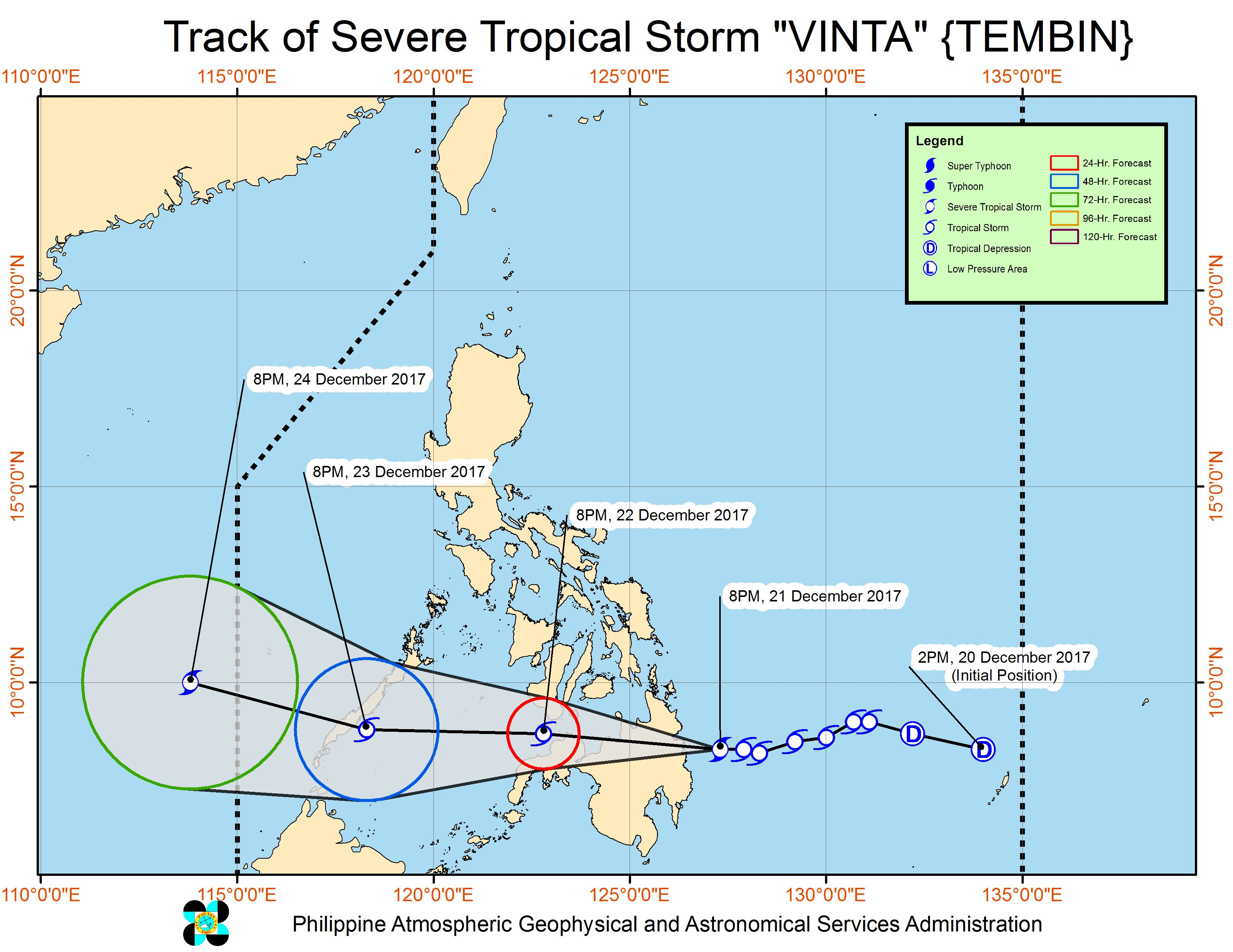 Forecast track of Severe Tropical Storm Vinta as of December 21, 11 pm. Image courtesy of PAGASA