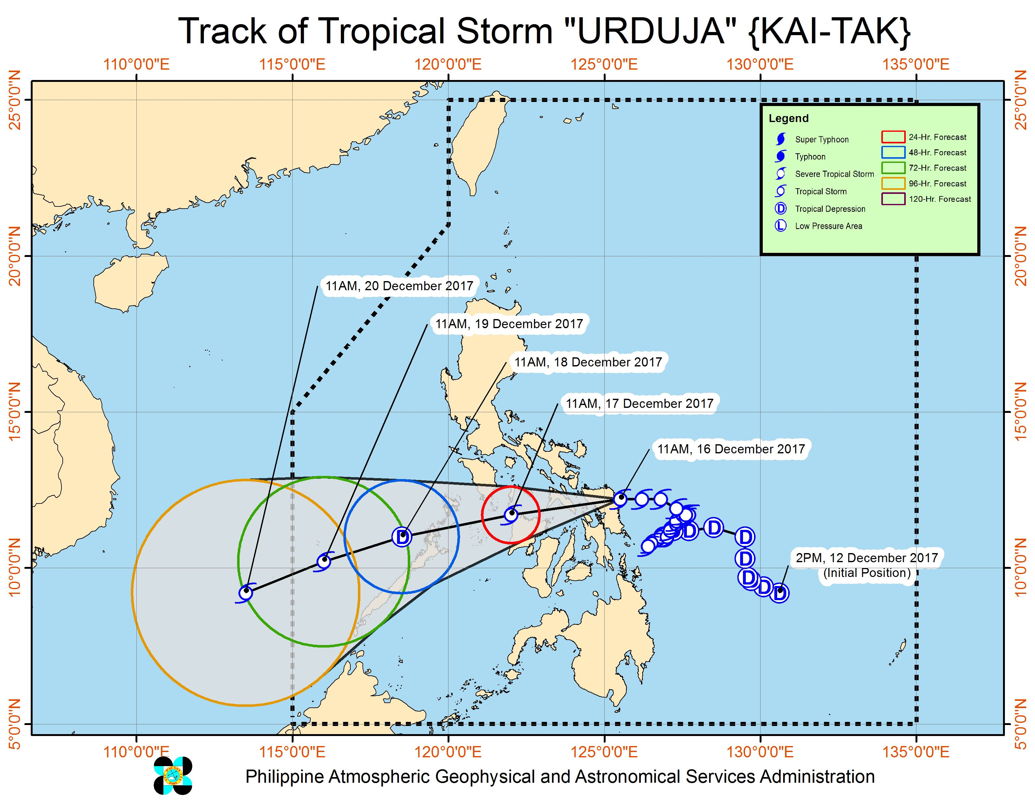 Forecast track of Tropical Storm Urduja as of December 16, 2:30 pm. Image courtesy of PAGASA