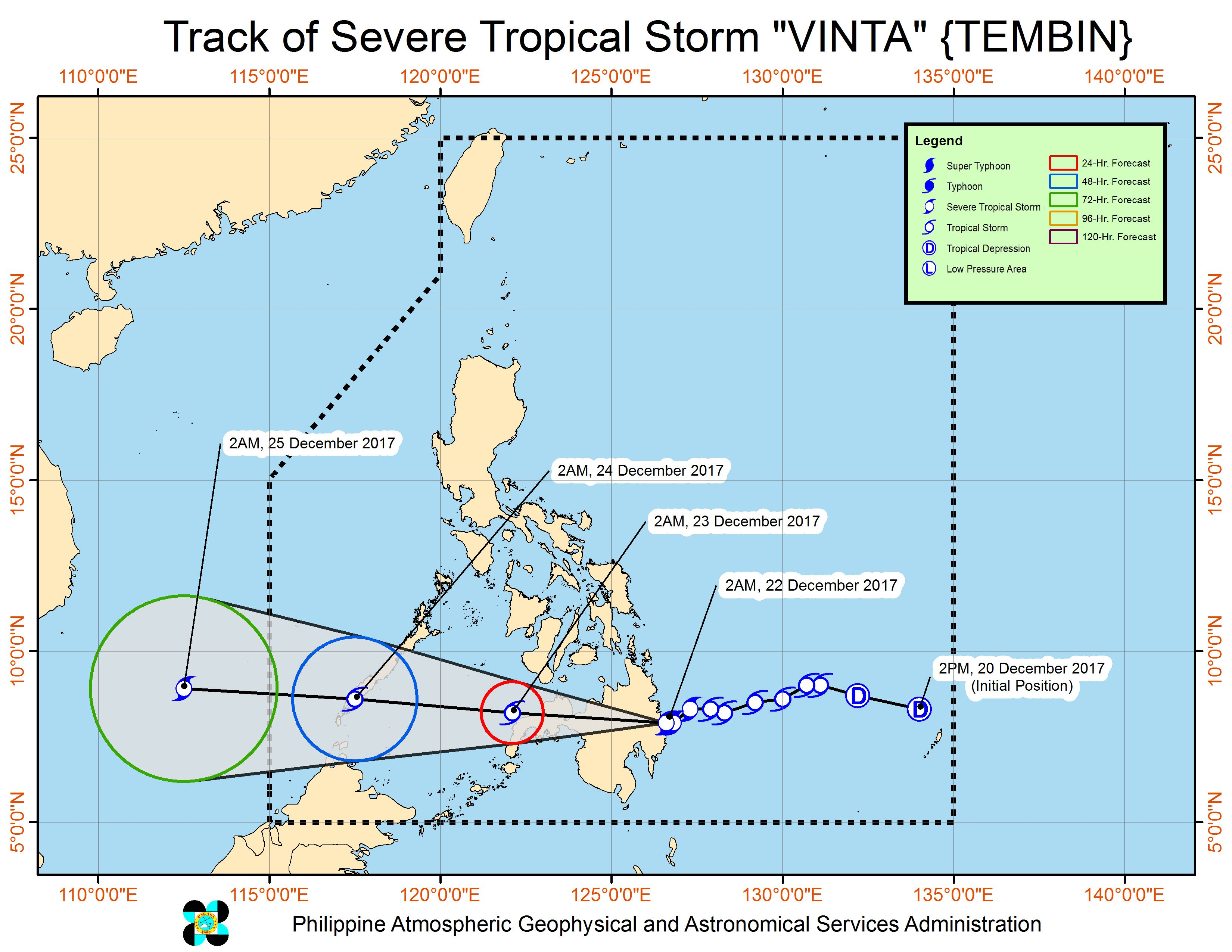 Forecast track of Severe Tropical Storm Vinta as of December 22, 5 am. Image courtesy of PAGASA