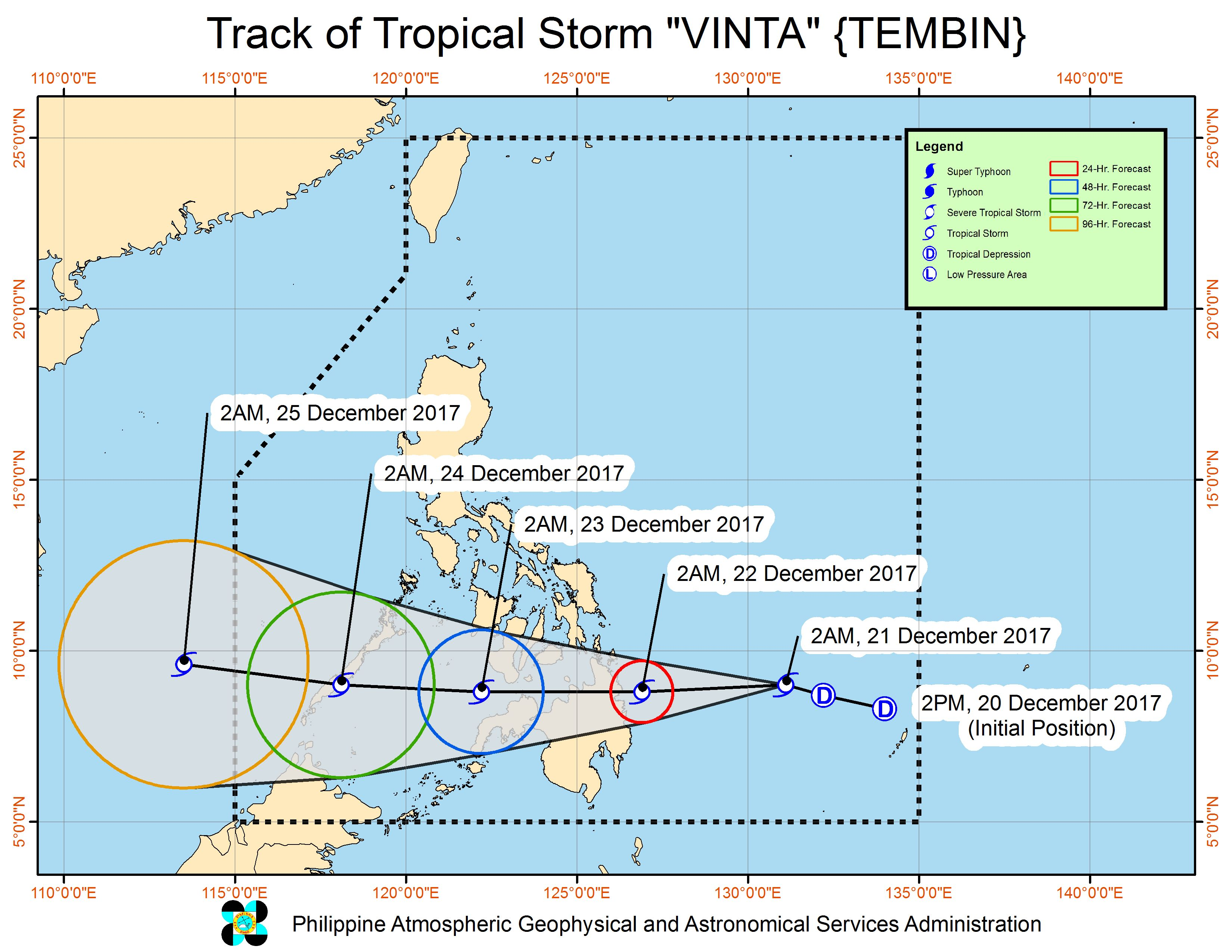 Forecast track of Tropical Storm Vinta as of December 21, 5 am. Image courtesy of PAGASA