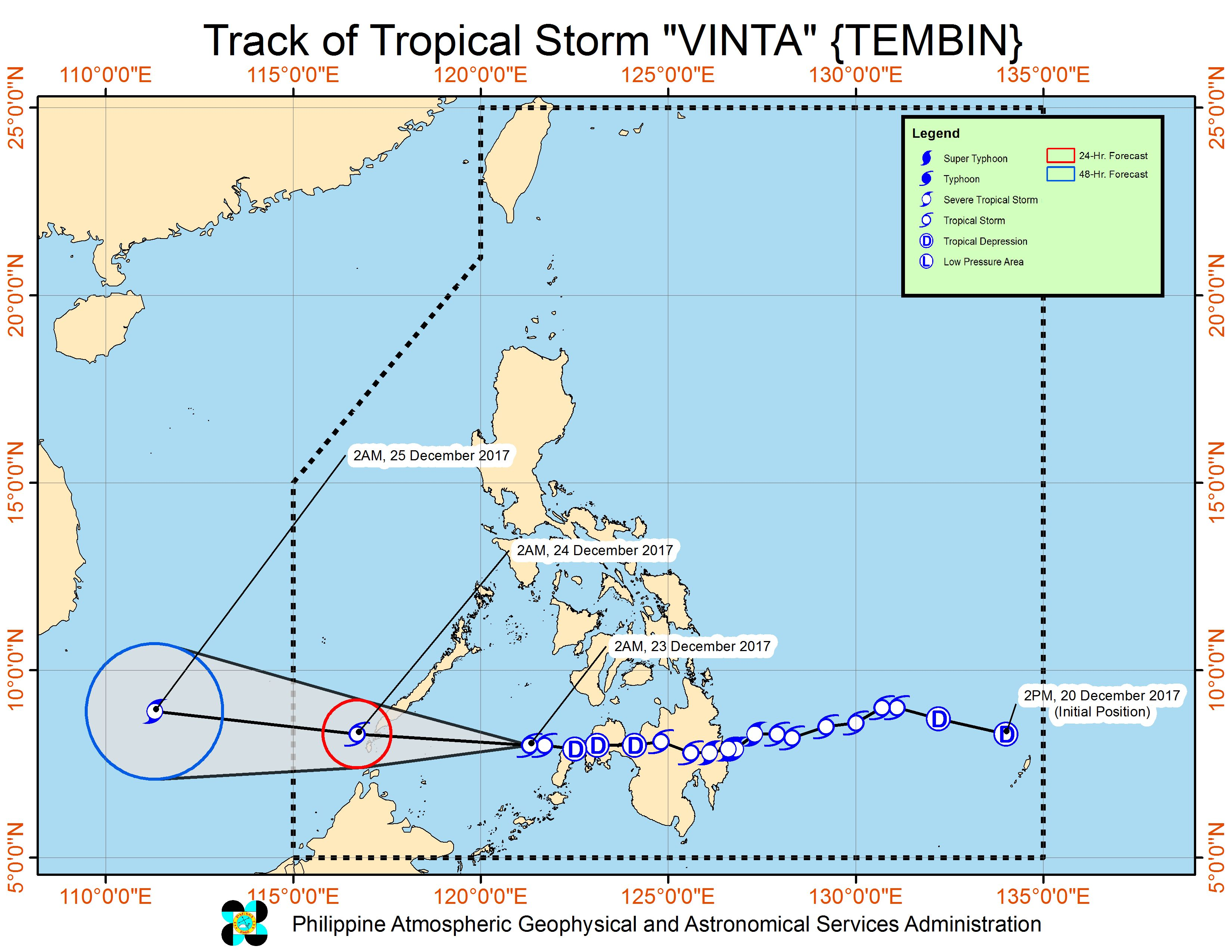 Forecast track of Tropical Storm Vinta as of December 23, 5 am. Image courtesy of PAGASA