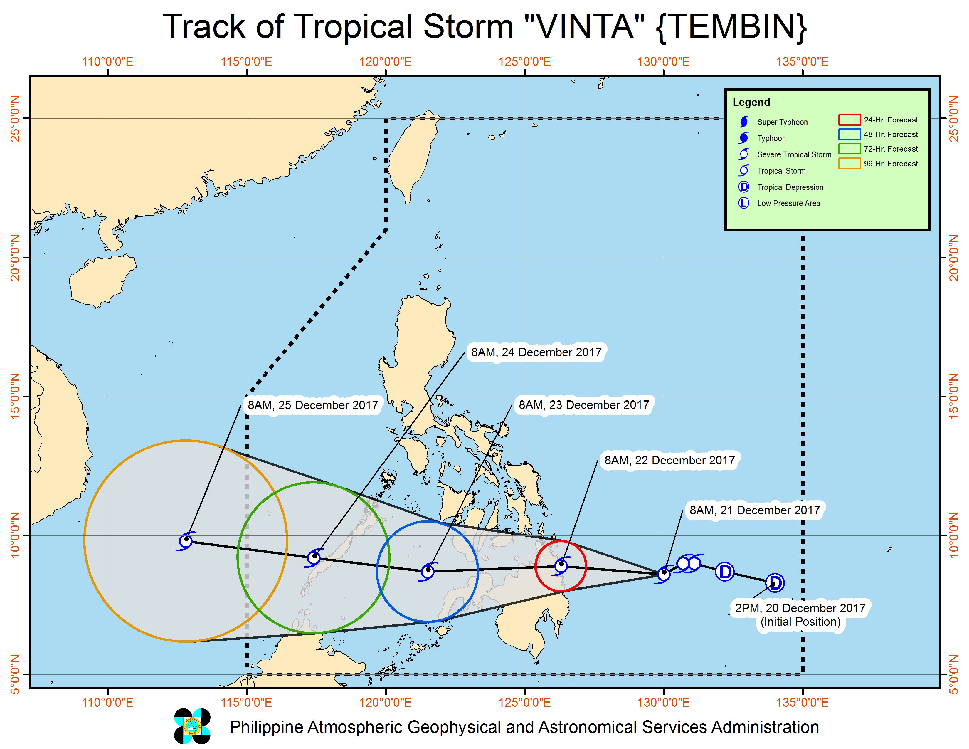 Forecast track of Tropical Storm Vinta as of December 21, 11 am. Image courtesy of PAGASA