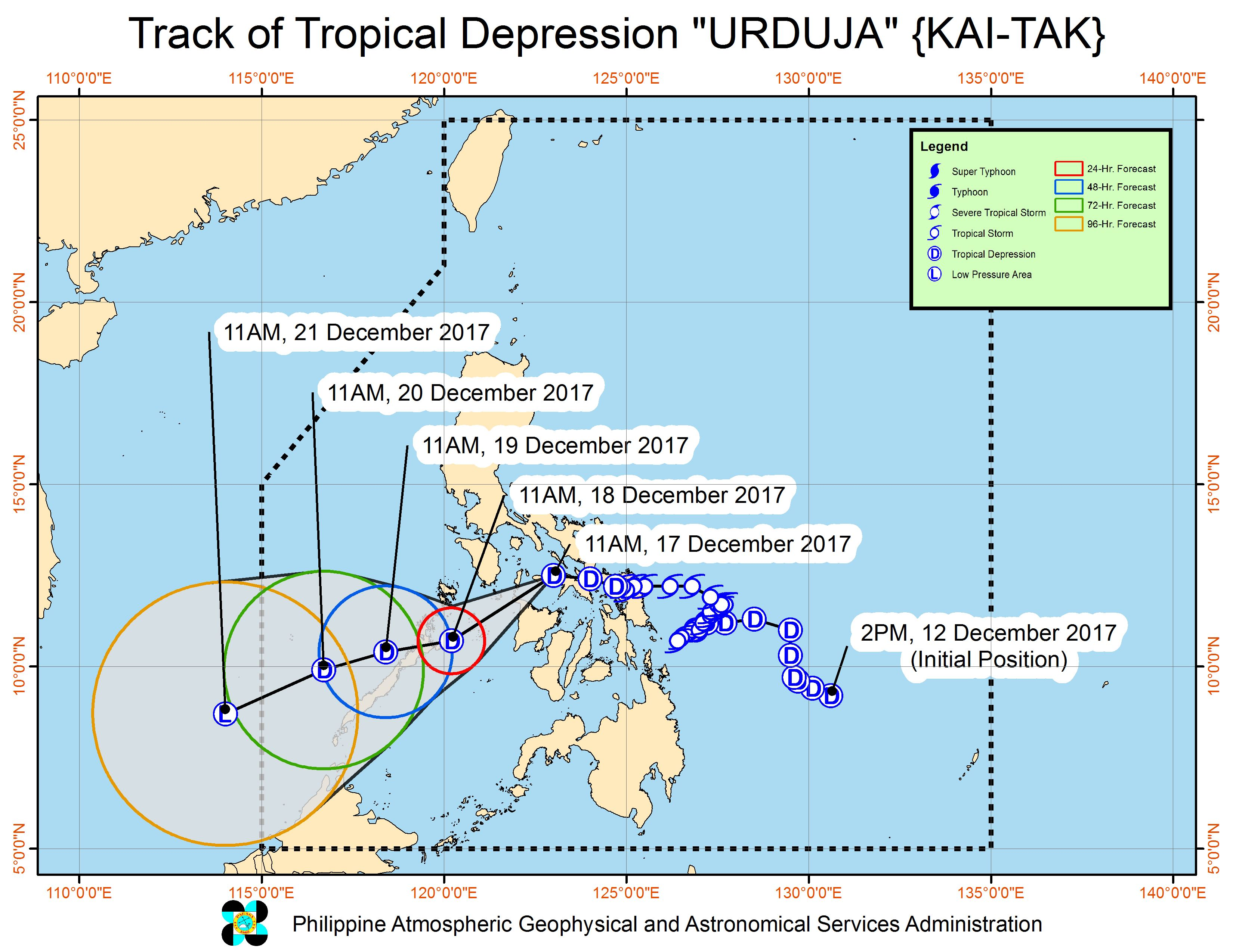 Forecast track of Tropical Depression Urduja as of December 17, 2 pm. Image courtesy of PAGASA