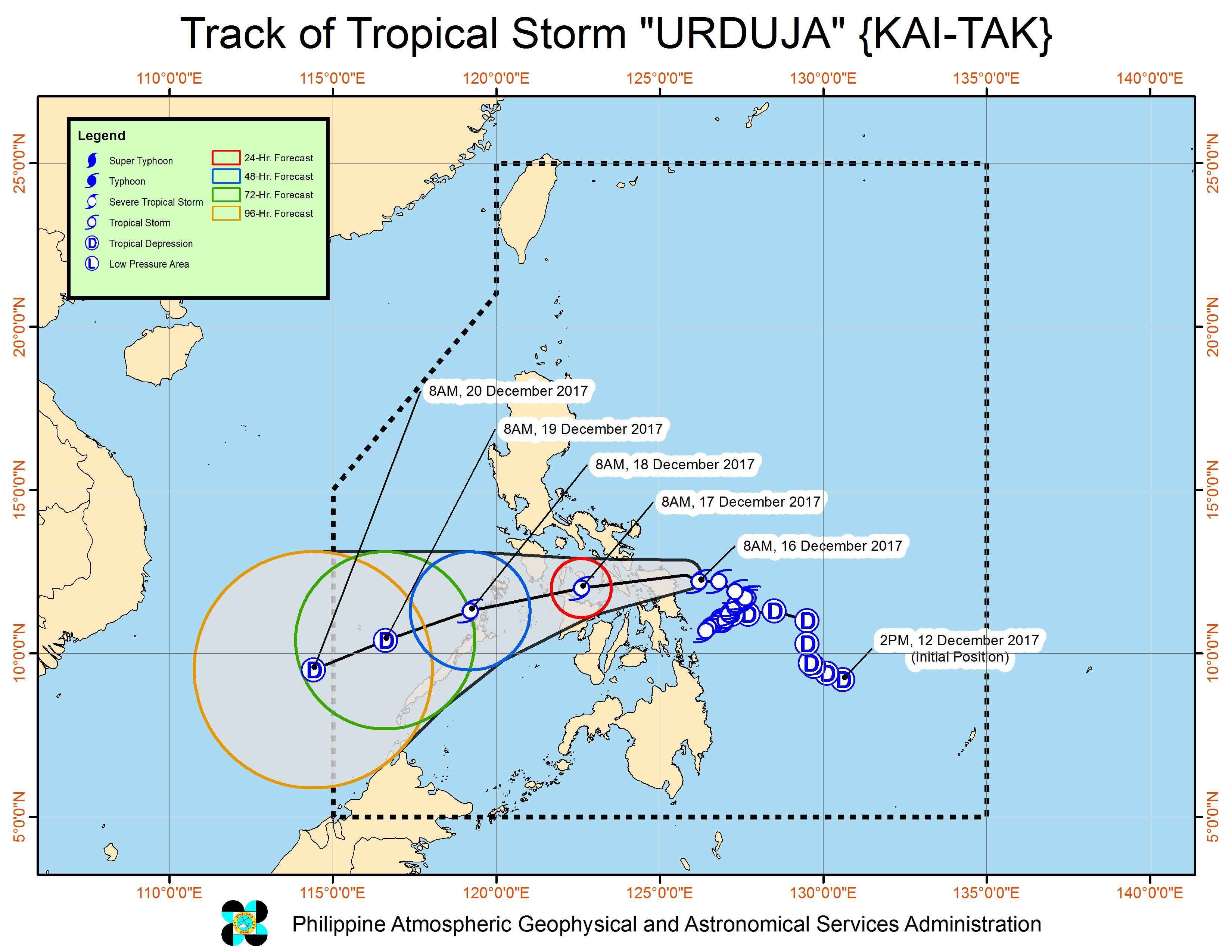 Forecast track of Tropical Storm Urduja as of December 16, 11 am. Image courtesy of PAGASA