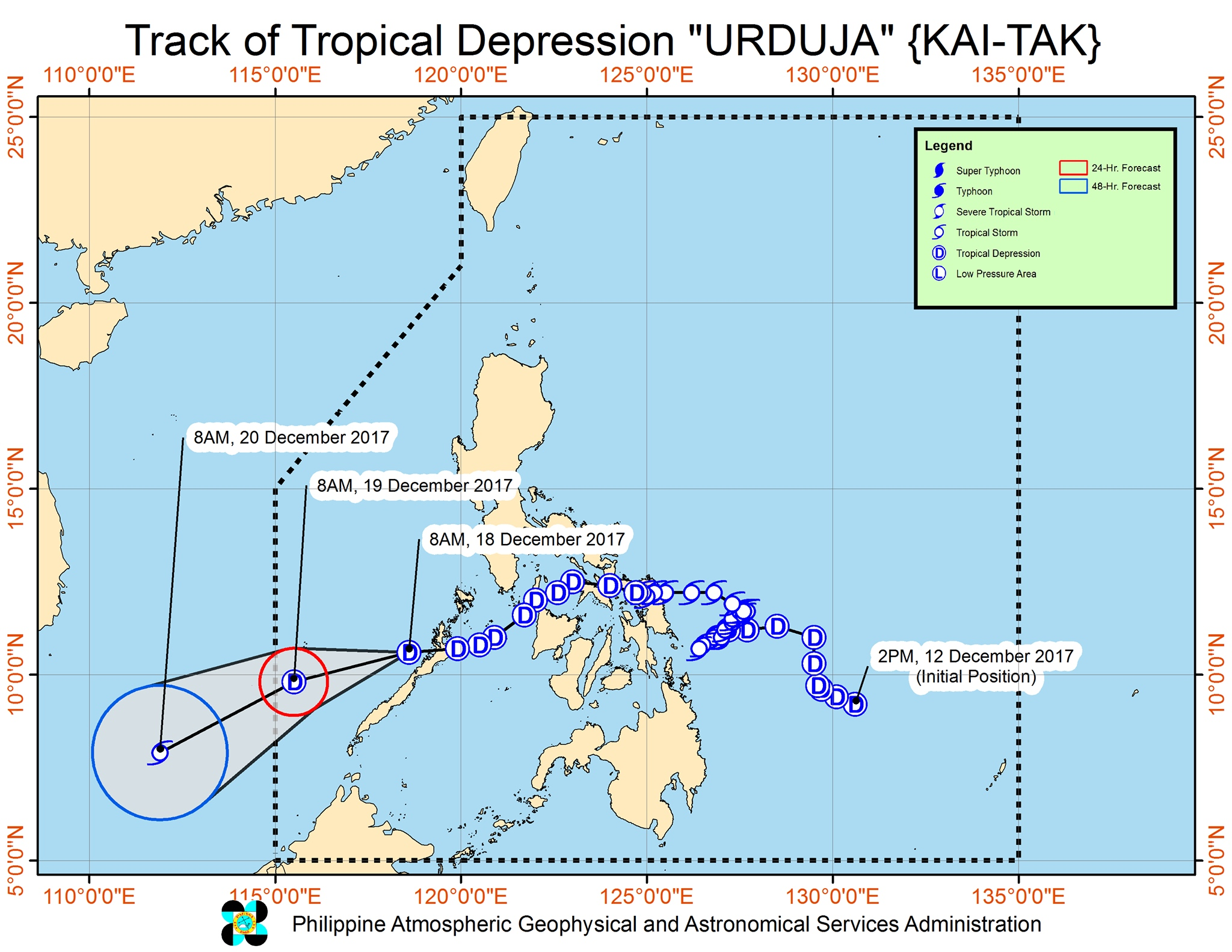 Forecast track of Tropical Depression Urduja as of December 18, 11 am. Image courtesy of PAGASA
