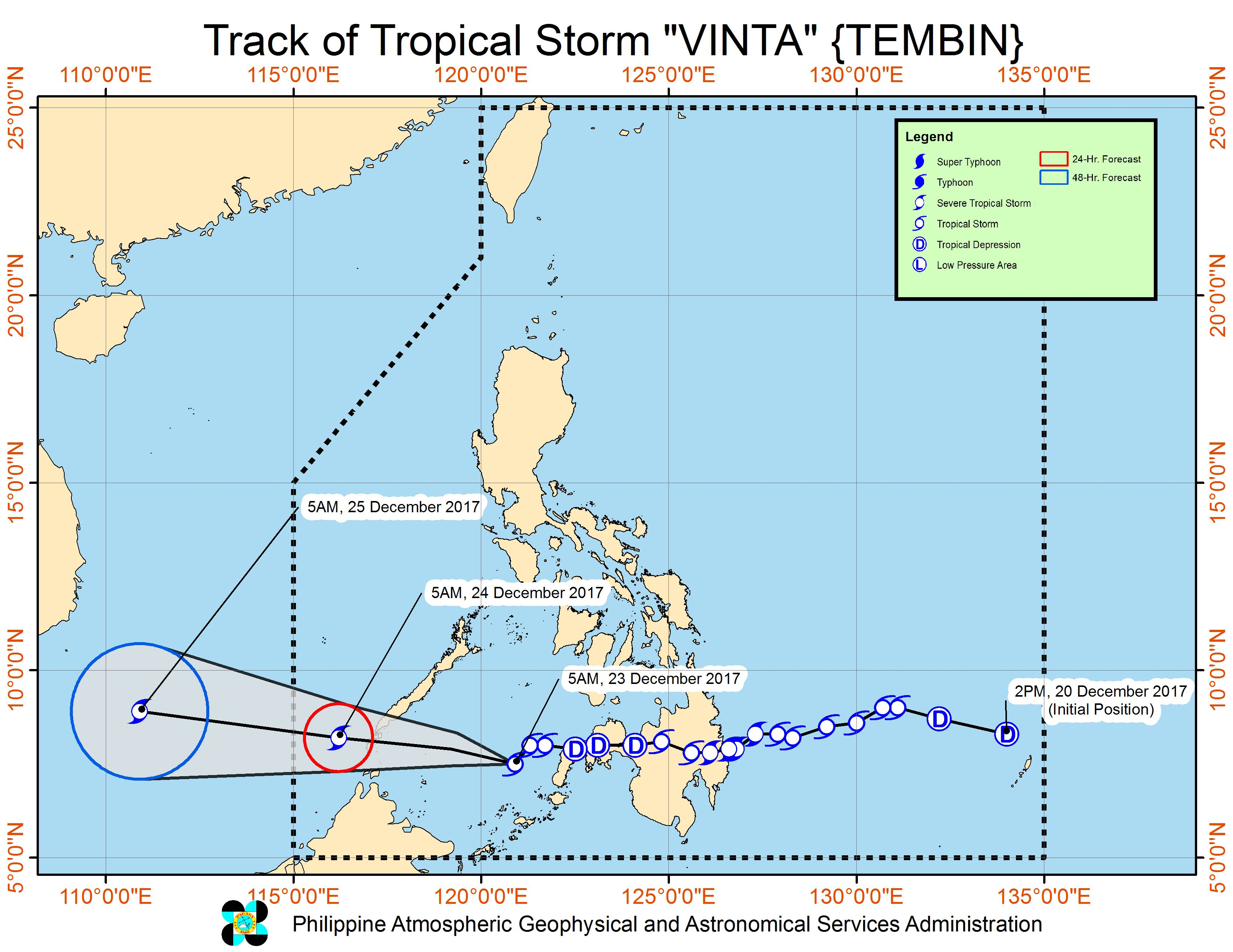 Forecast track of Tropical Storm Vinta as of December 23, 8 am. Image courtesy of PAGASA