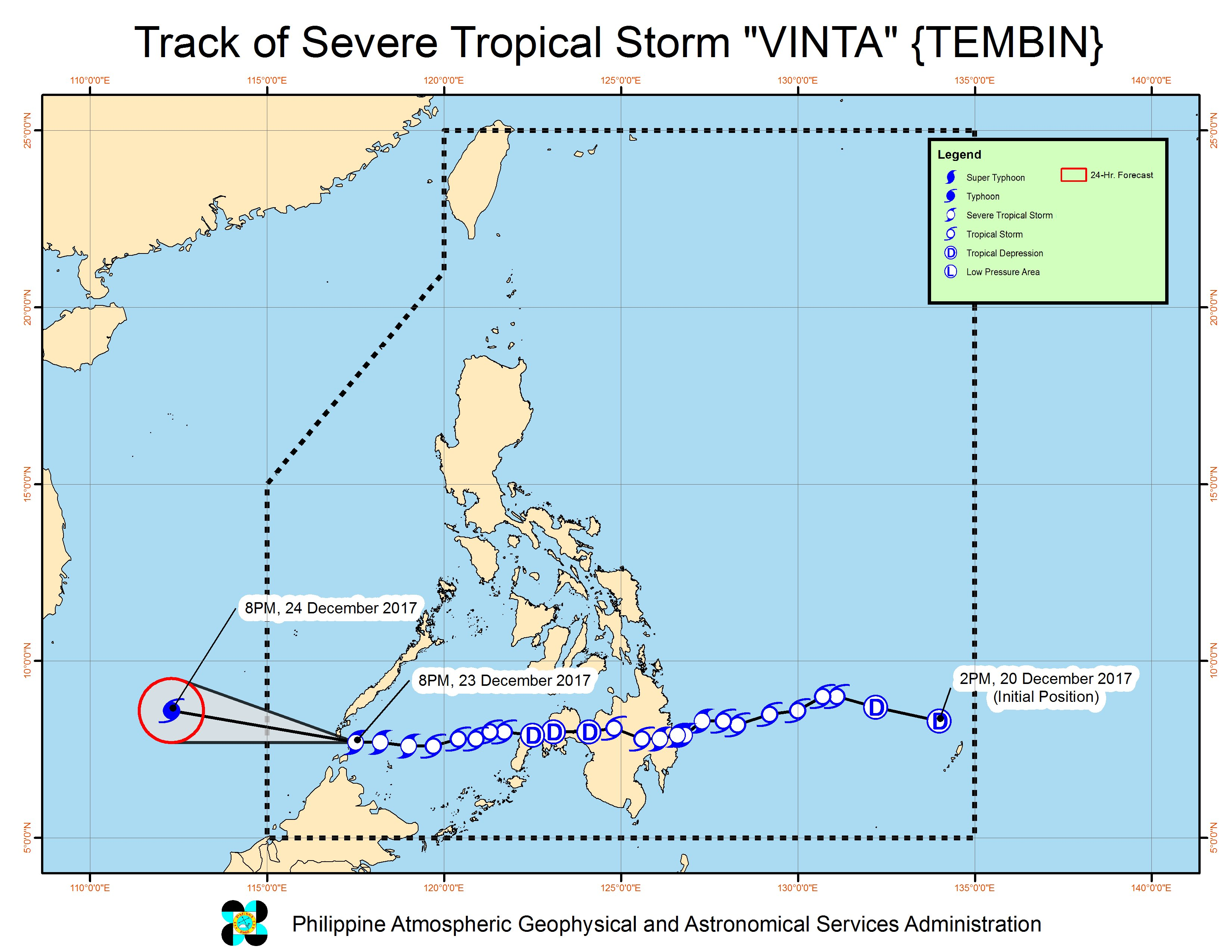 Forecast track of Severe Tropical Storm Vinta as of December 23, 11 pm. Image courtesy of PAGASA