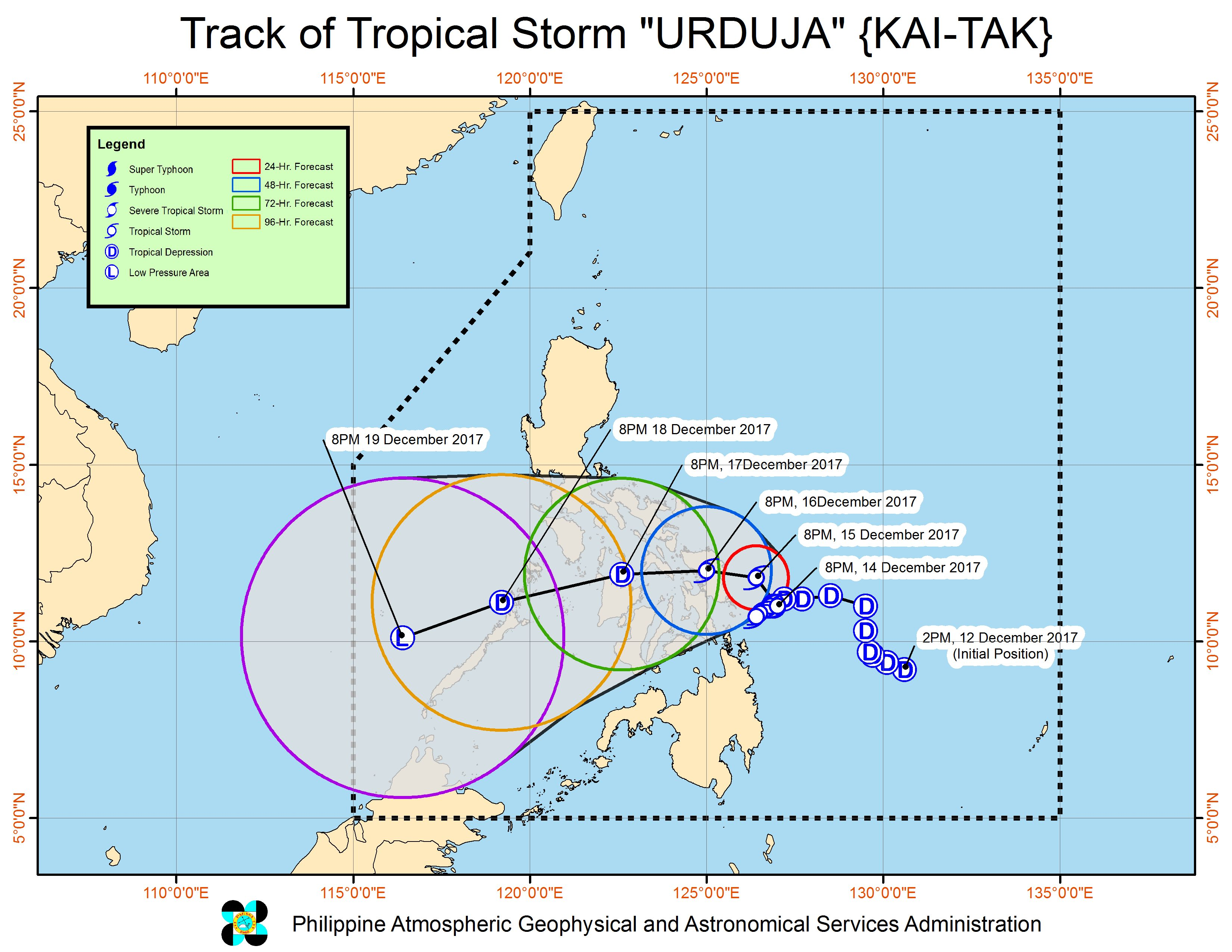 Forecast track of Tropical Storm Urduja as of December 14, 11 pm. Image courtesy of PAGASA