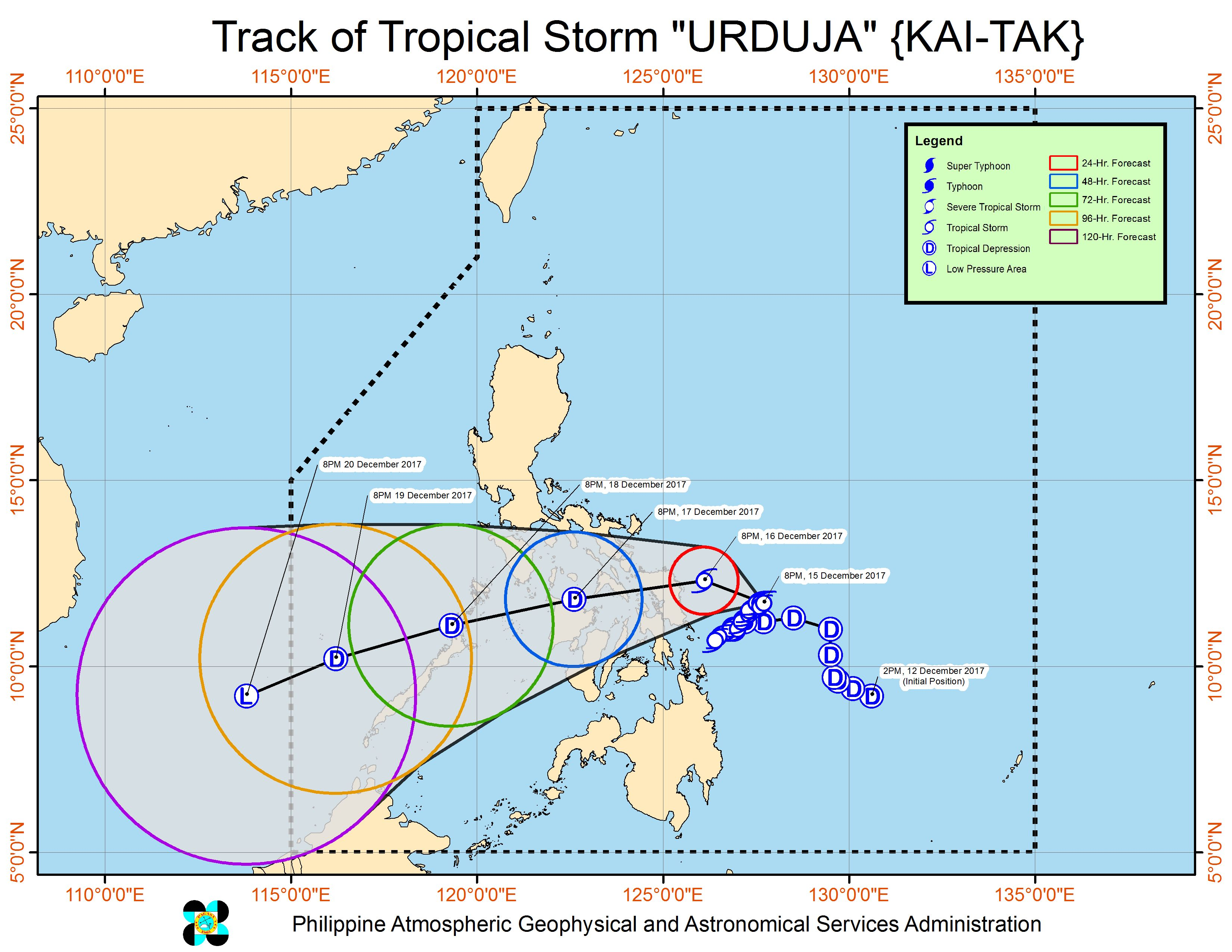 Forecast track of Tropical Storm Urduja as of December 15, 11 pm. Image courtesy of PAGASA