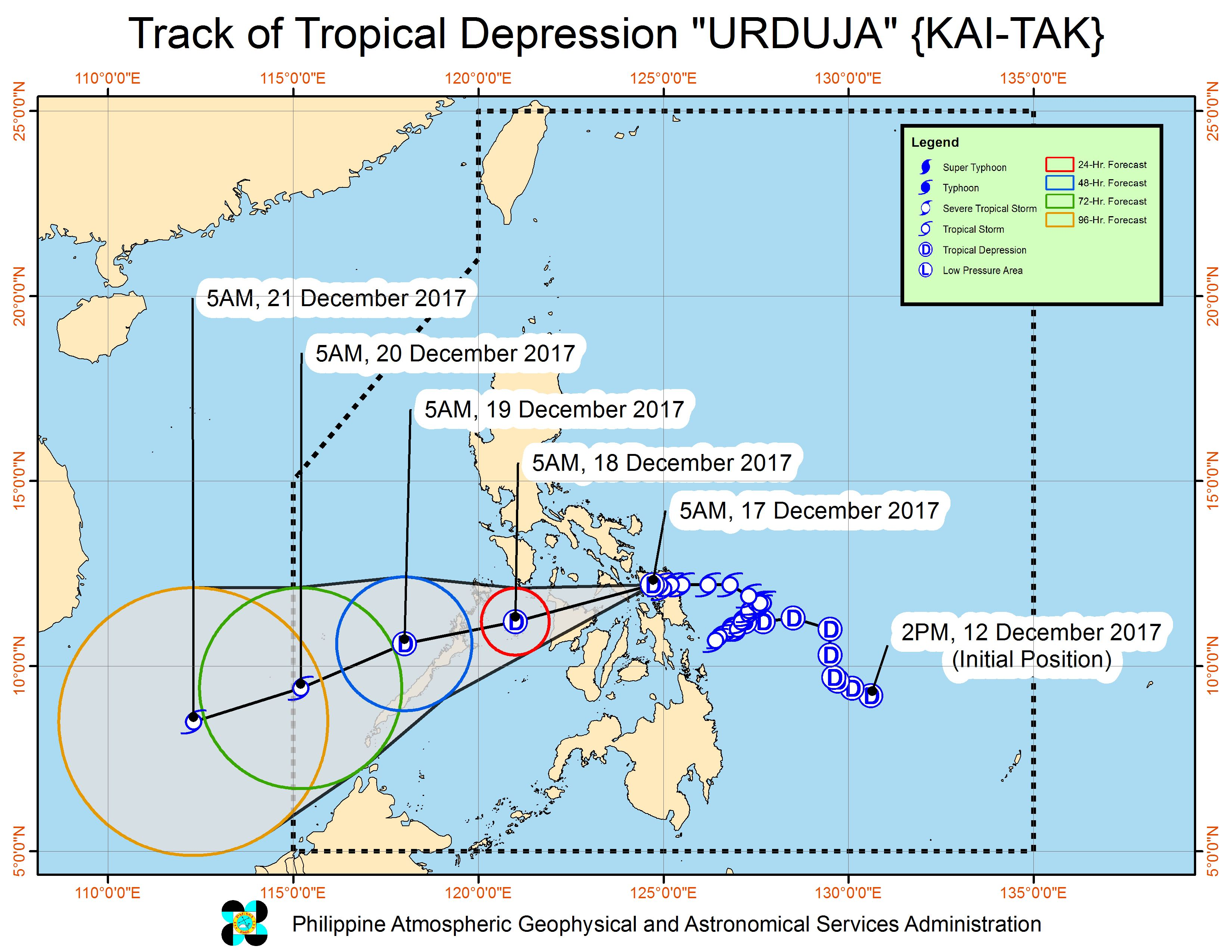 Forecast track of Tropical Depression Urduja as of December 17, 8 am. Image courtesy of PAGASA
