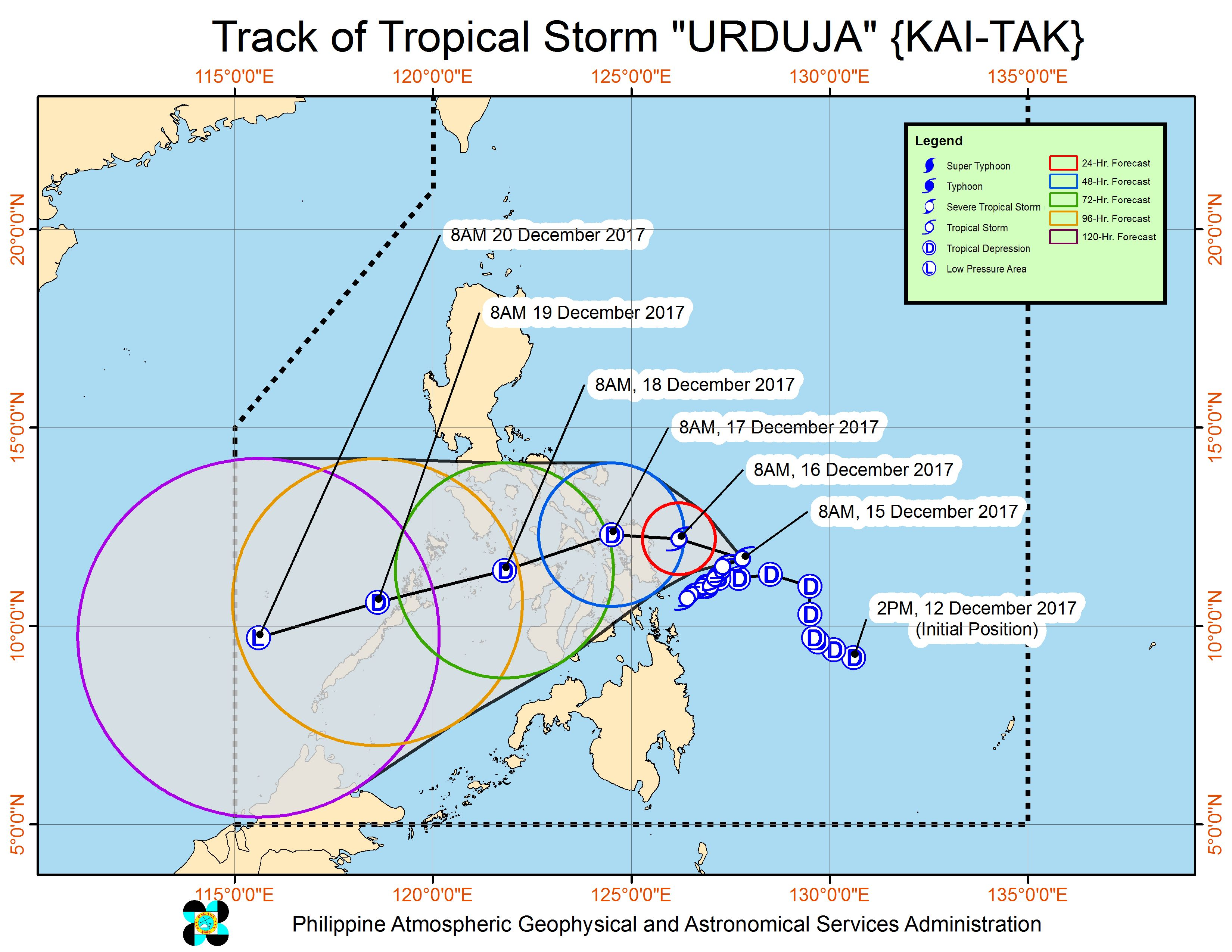 Forecast track of Tropical Storm Urduja as of December 15, 11 am. Image courtesy of PAGASA