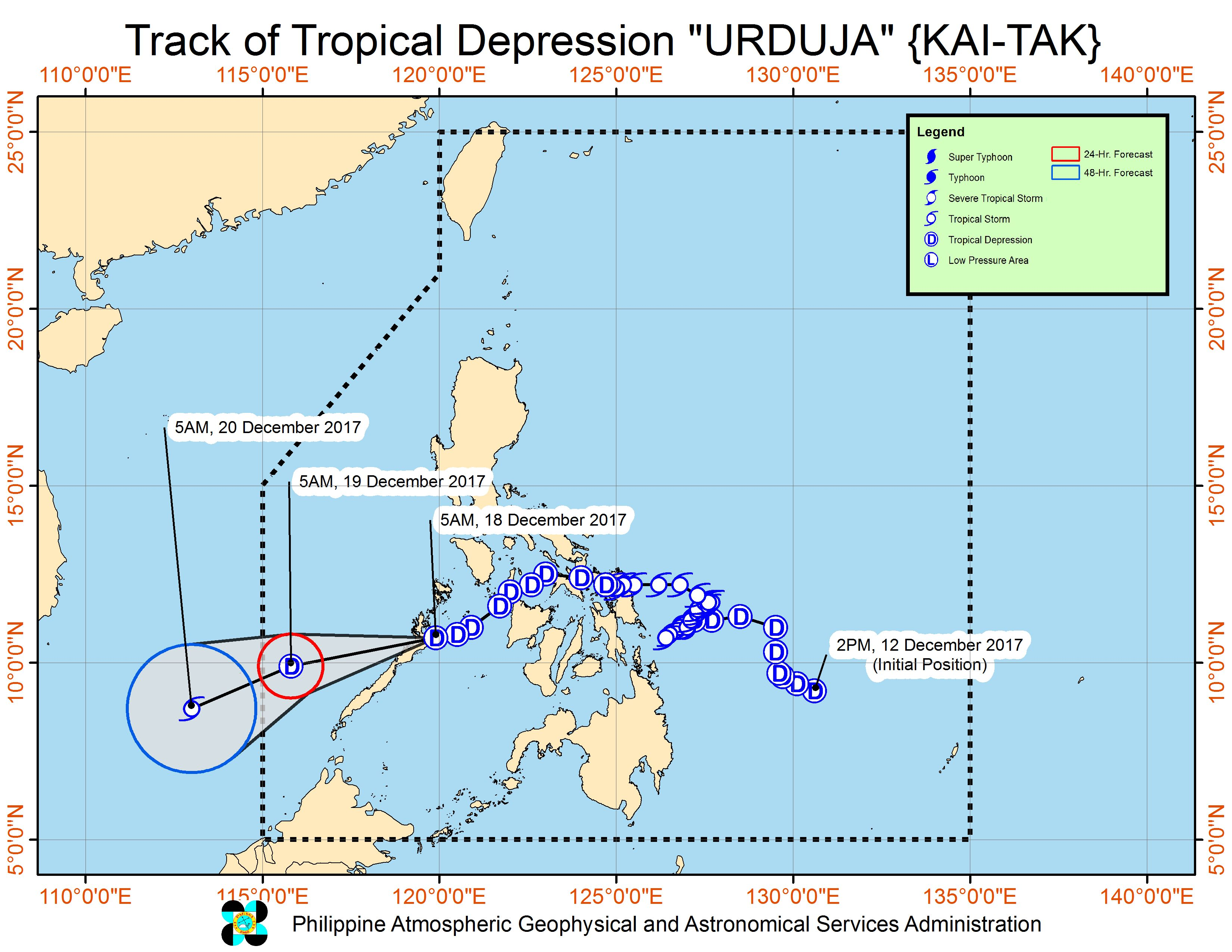 Forecast track of Tropical Depression Urduja as of December 18, 8 am. Image courtesy of PAGASA