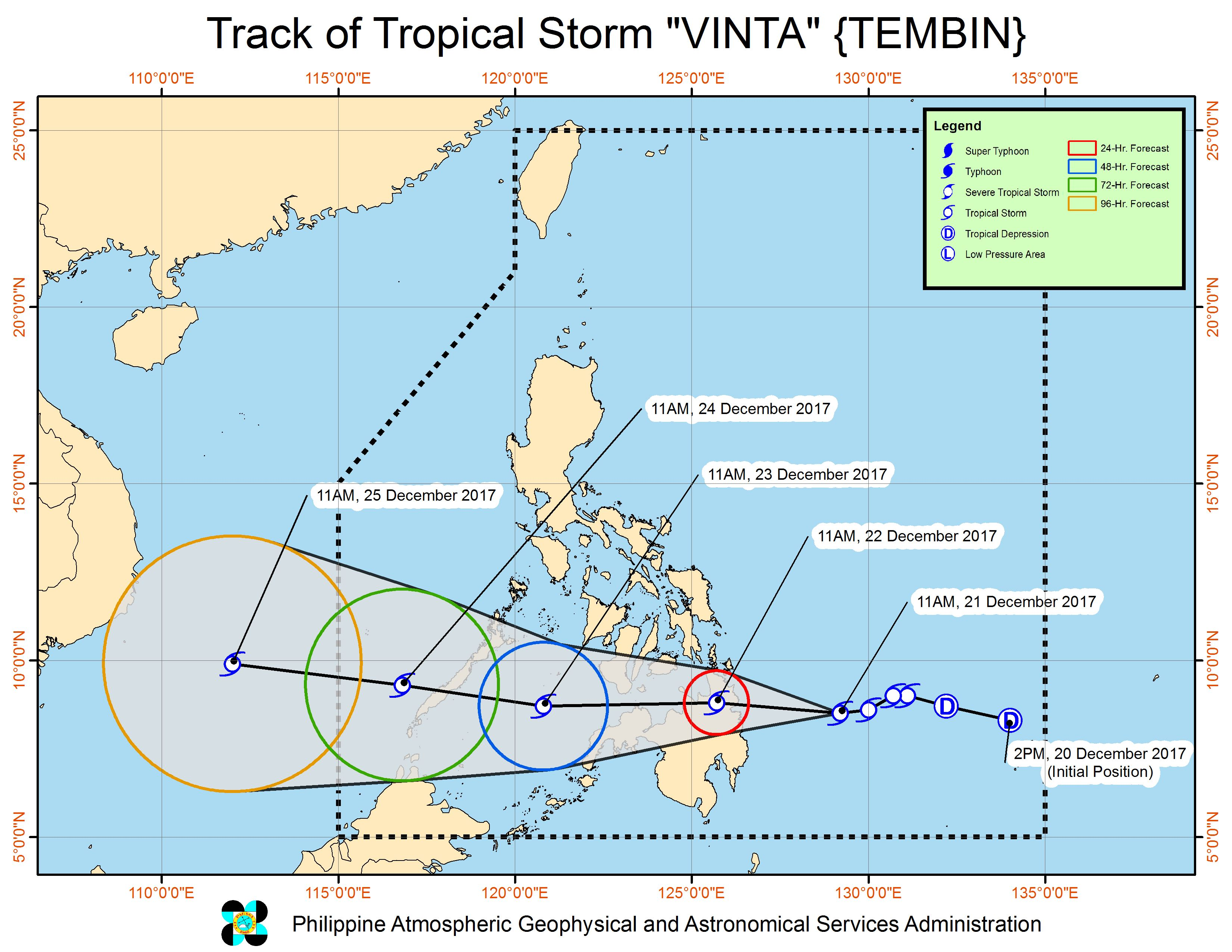 Forecast track of Tropical Storm Vinta as of December 21, 2 pm. Image courtesy of PAGASA
