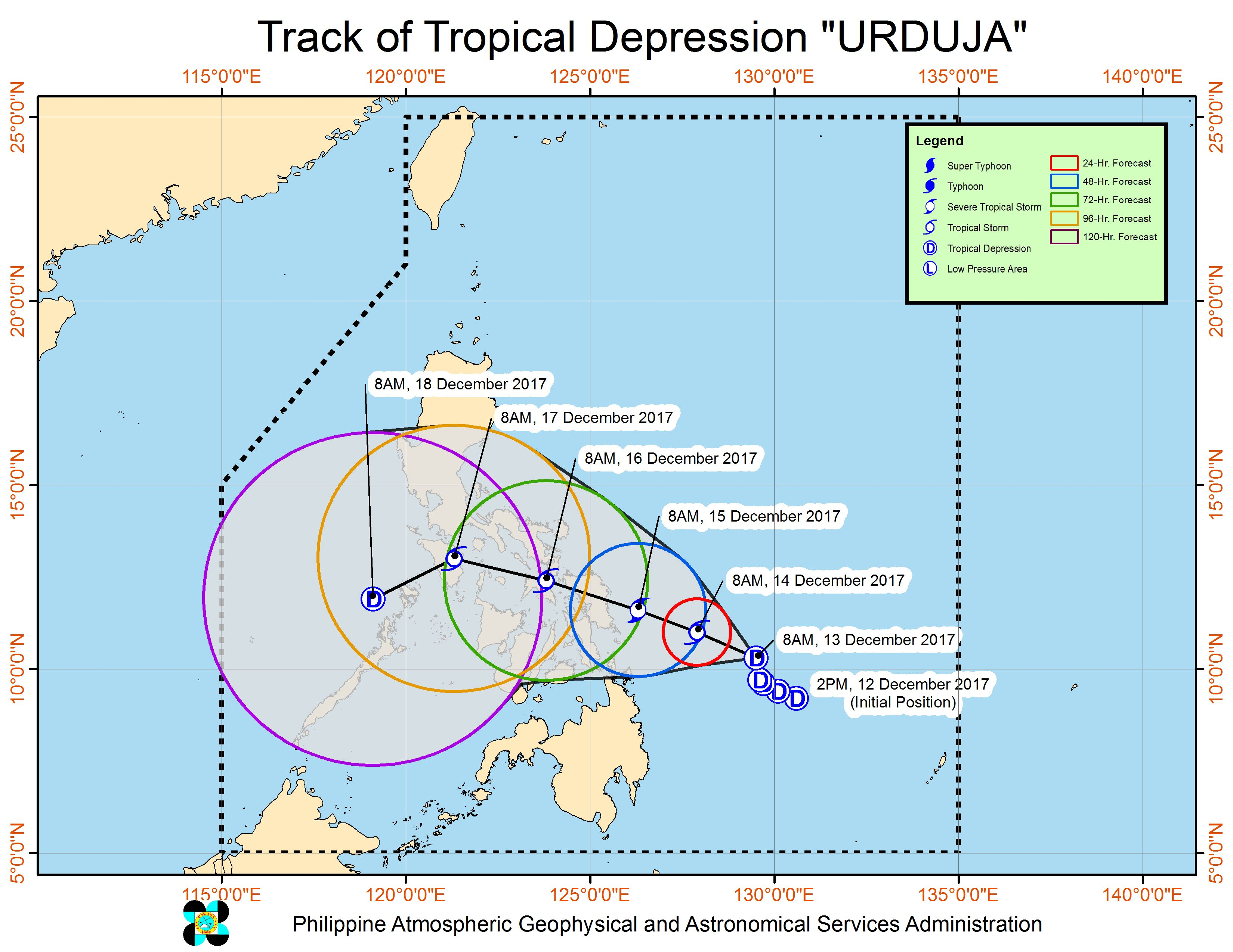 Forecast track of Tropical Depression Urduja as of December 13, 11 am. Image courtesy of PAGASA