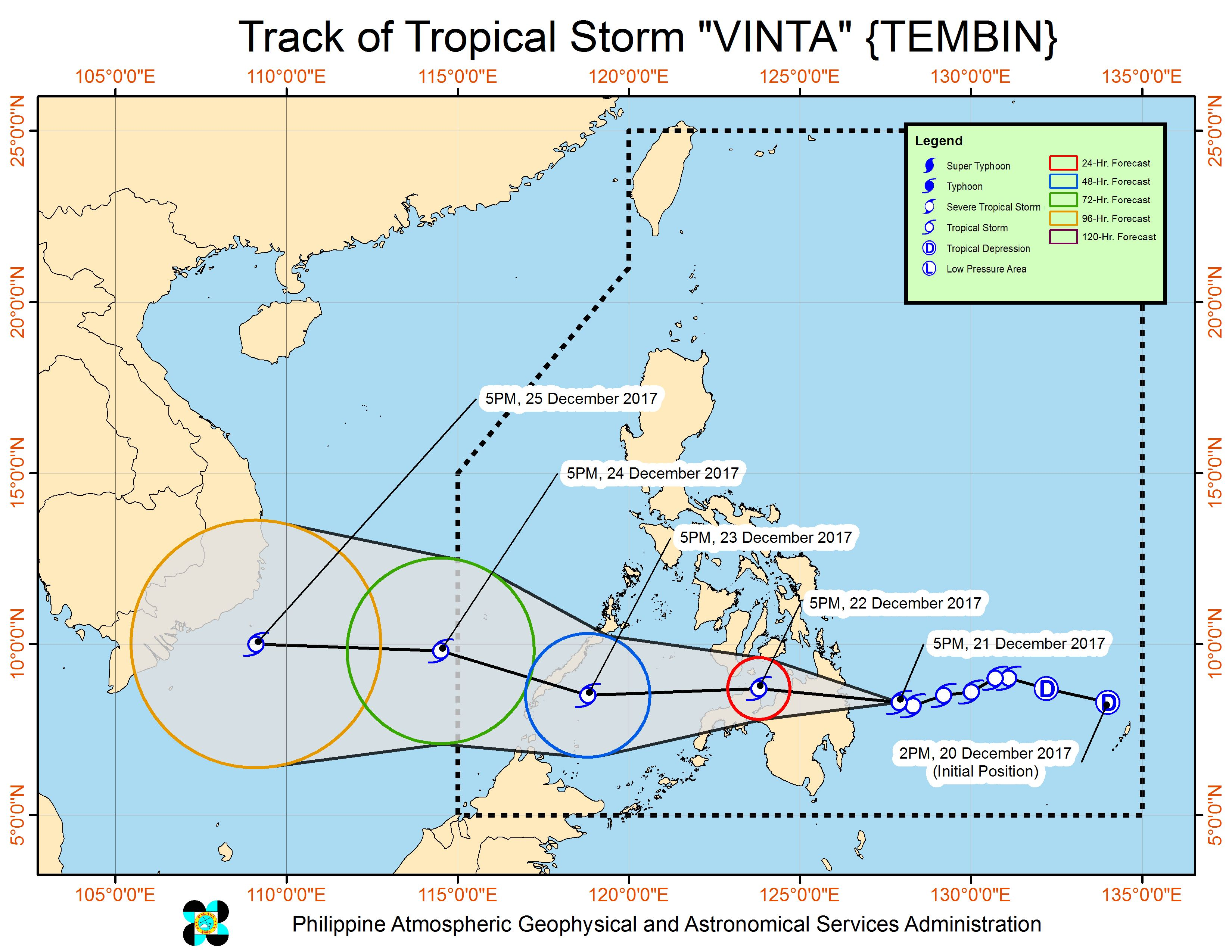 Forecast track of Tropical Storm Vinta as of December 21, 8 pm. Image courtesy of PAGASA