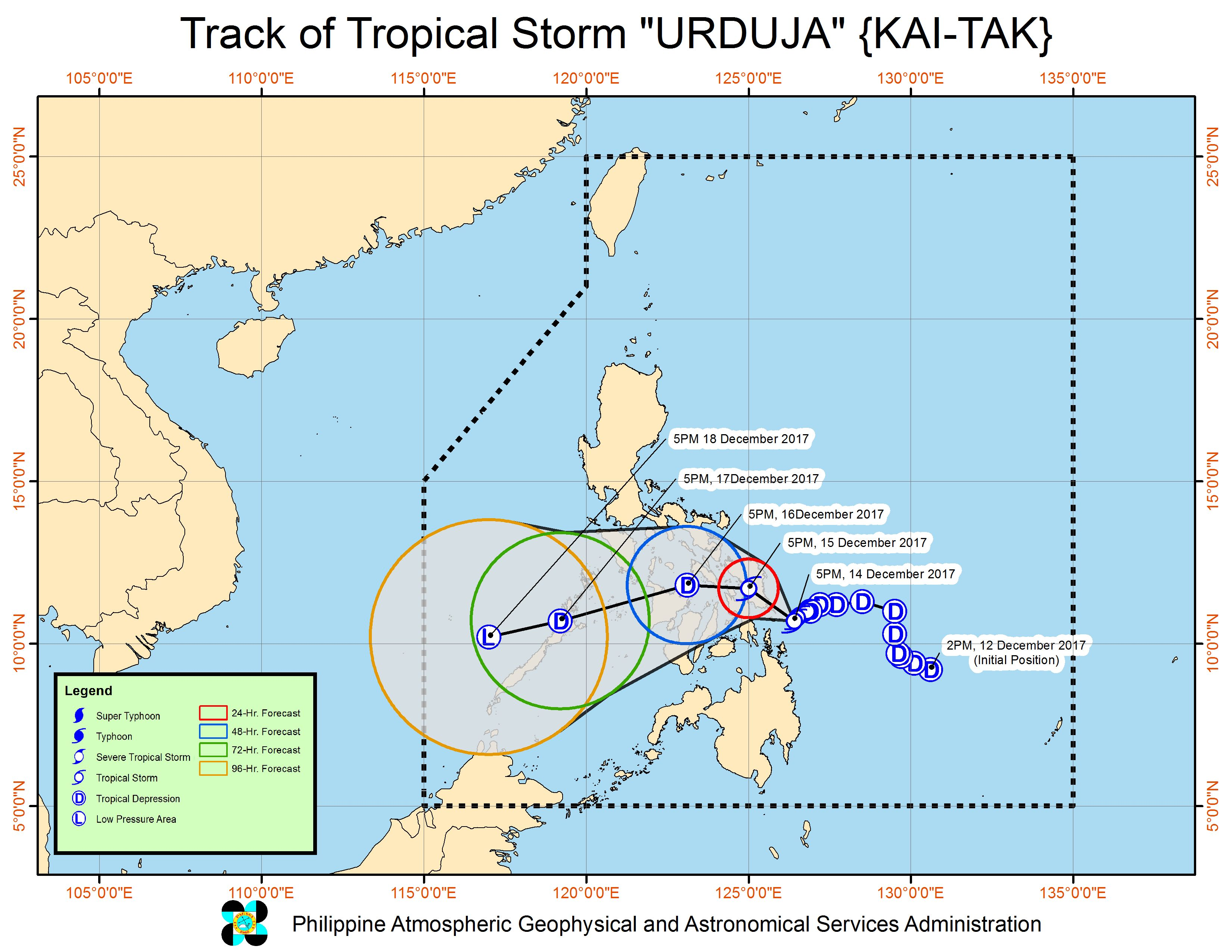 Forecast track of Tropical Storm Urduja as of December 14, 8 pm. Image courtesy of PAGASA