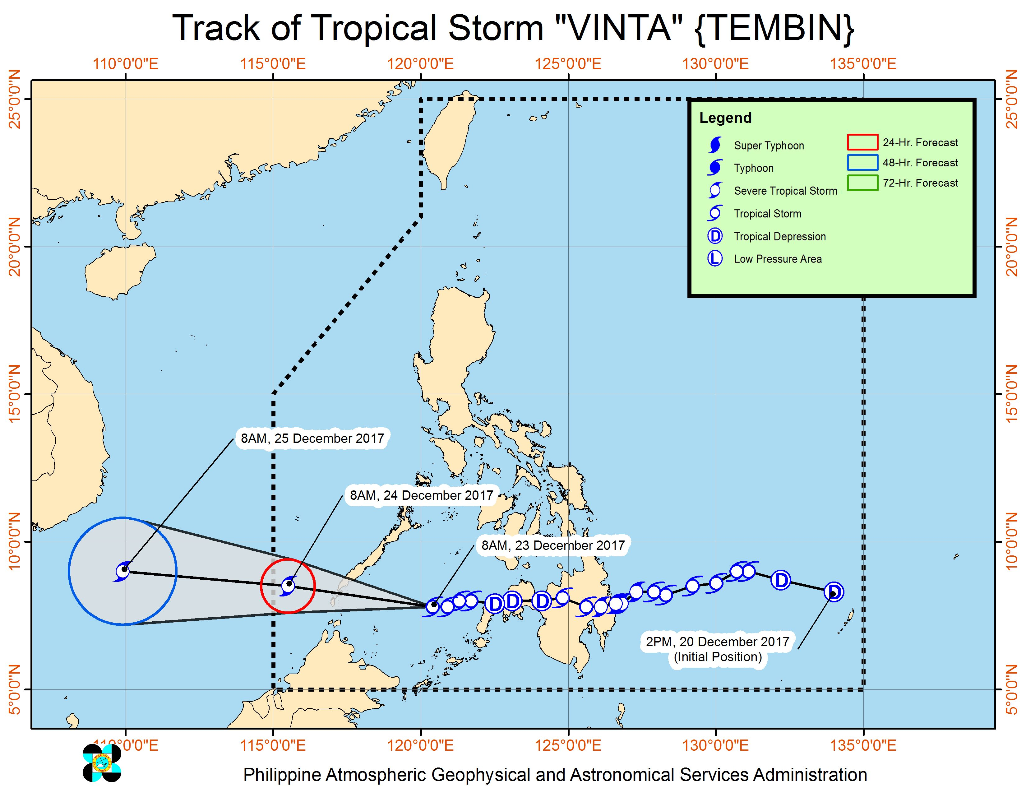 Forecast track of Tropical Storm Vinta as of December 23, 11 am. Image courtesy of PAGASA