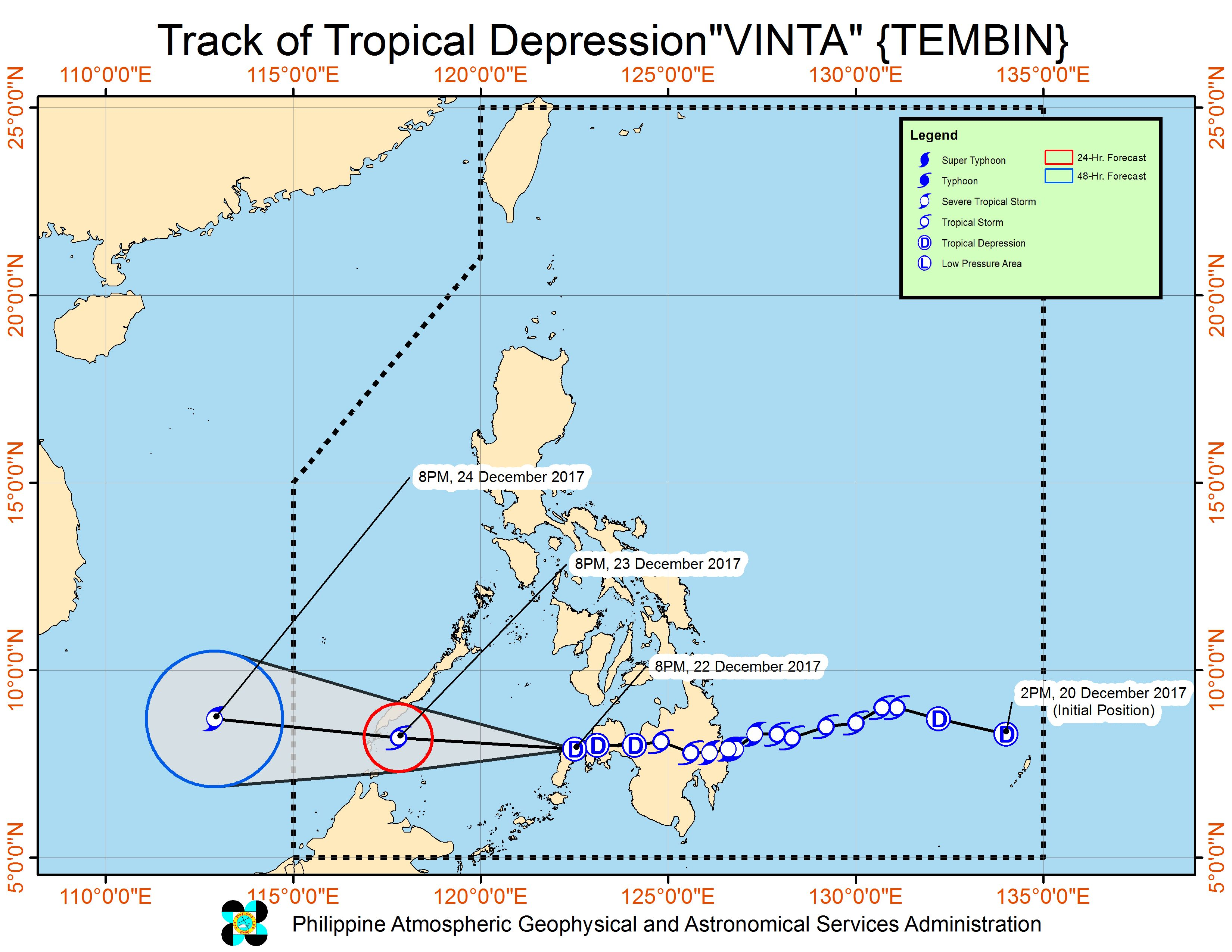 Forecast track of Tropical Depression Vinta as of December 22, 11 pm. Image courtesy of PAGASA