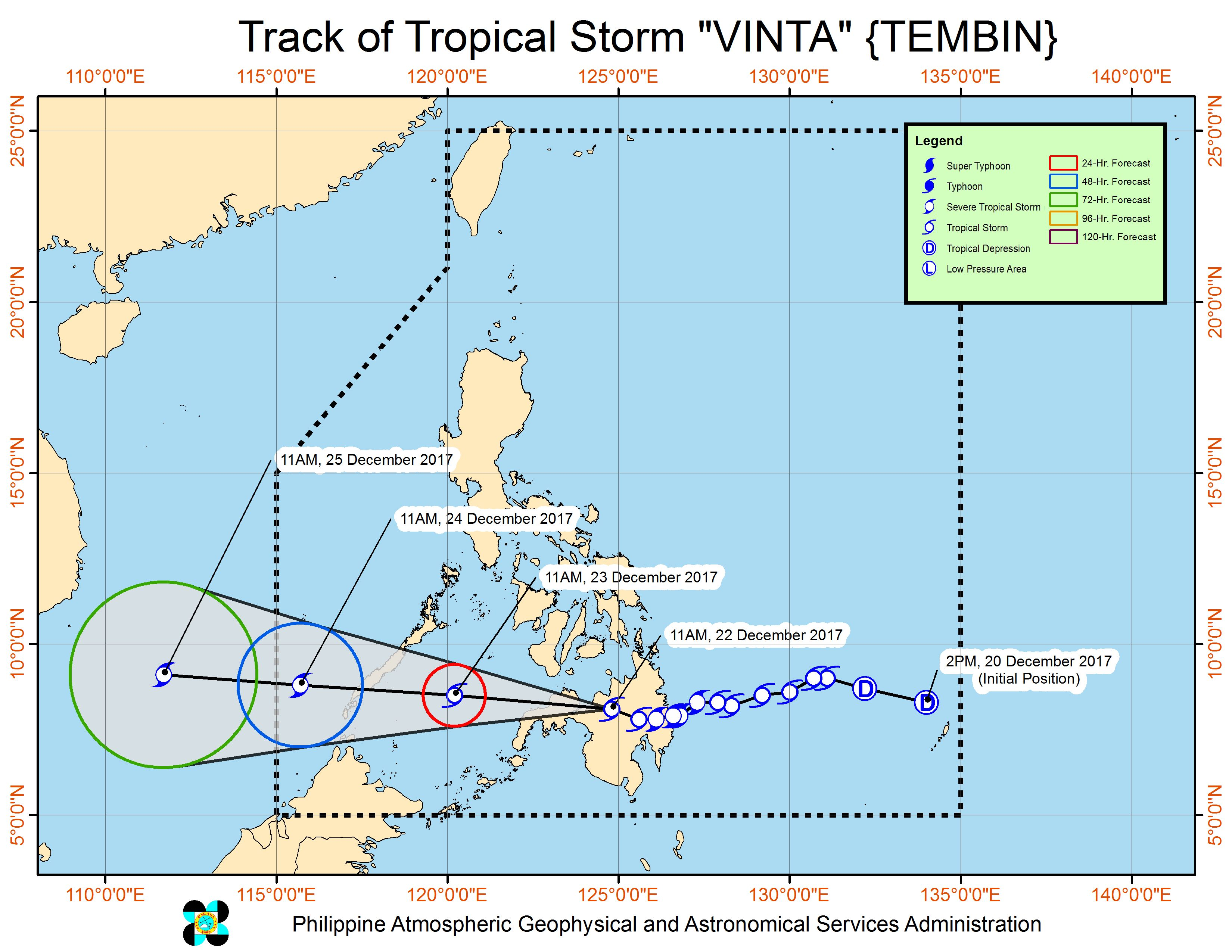 Forecast track of Tropical Storm Vinta as of December 22, 2 pm. Image courtesy of PAGASA