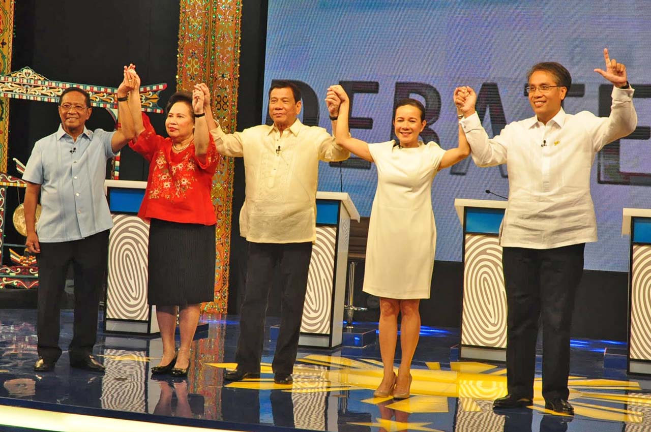 RUNNING IN MAY 2016. The 5 presidential candidates. Photo courtesy of Comelec
