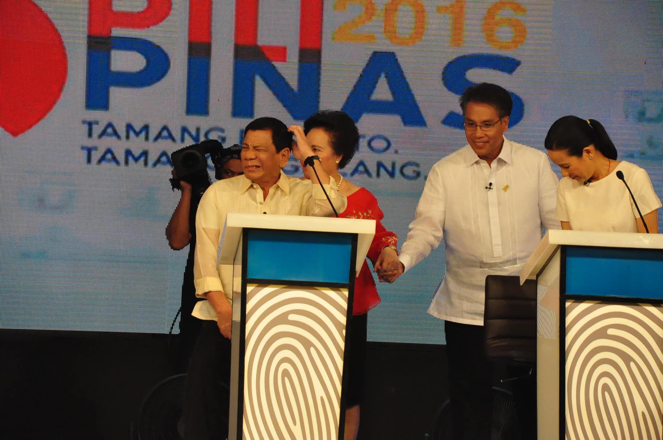 RACE TO MAY 9. Presidential candidates Rodrigo Duterte, Miriam Santiago, Mar Roxas and Grace Poe. File photo courtesy of of Comelec EID
