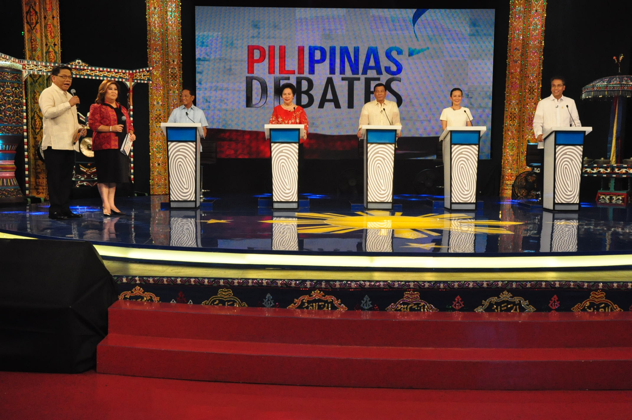 FIRST DEBATE. All 5 presidential candidates on one stage for the first time. Photo courtesy of Comelec EID