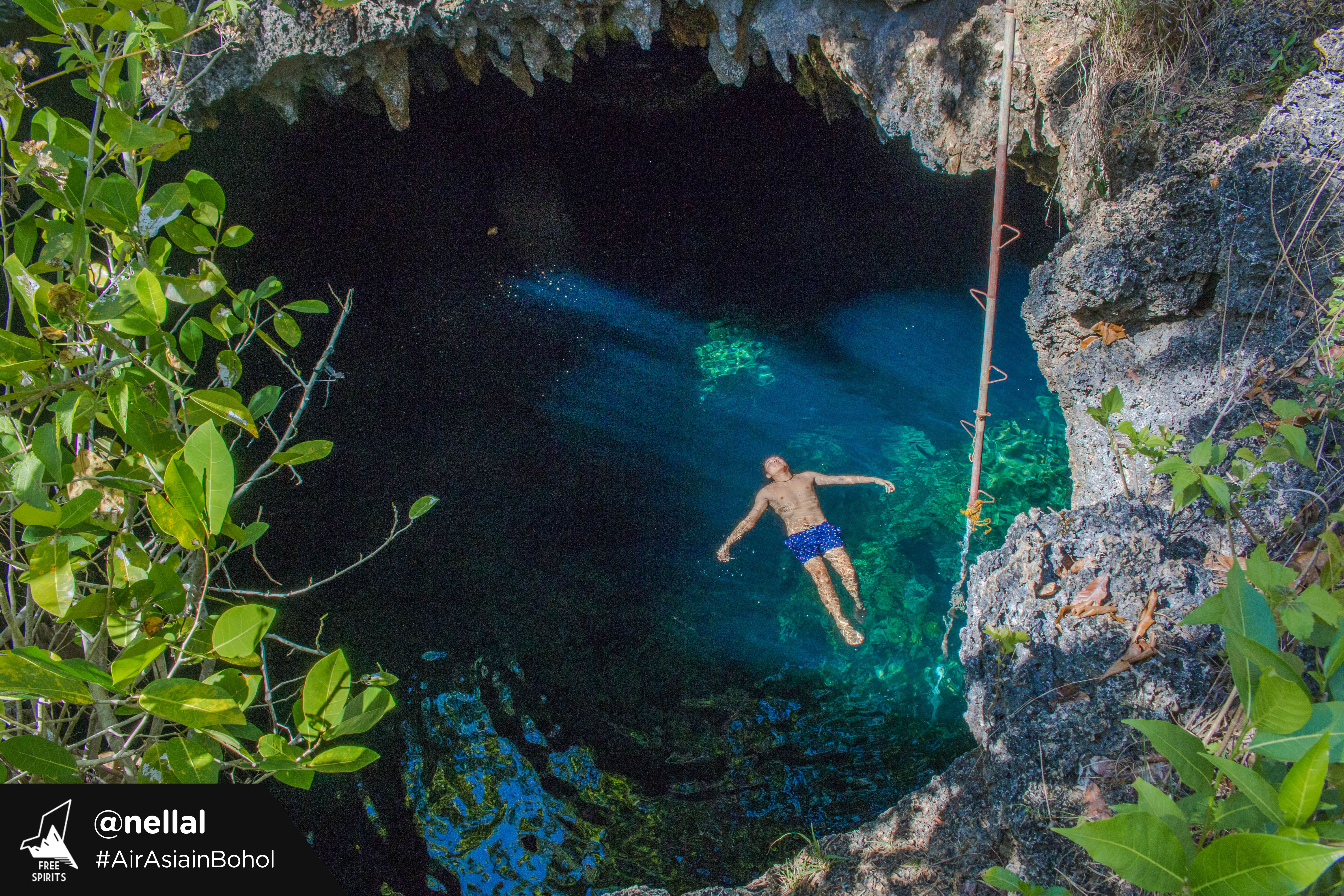 DARK AND DEEP. Cabagnow, or Kabagno, is known as the deepest and most beautiful cave pool in Anda. Photo by Nella Lomoton, courtesy of AirAsia