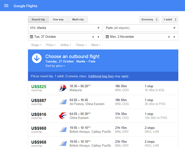 Screengrab from Google Flights