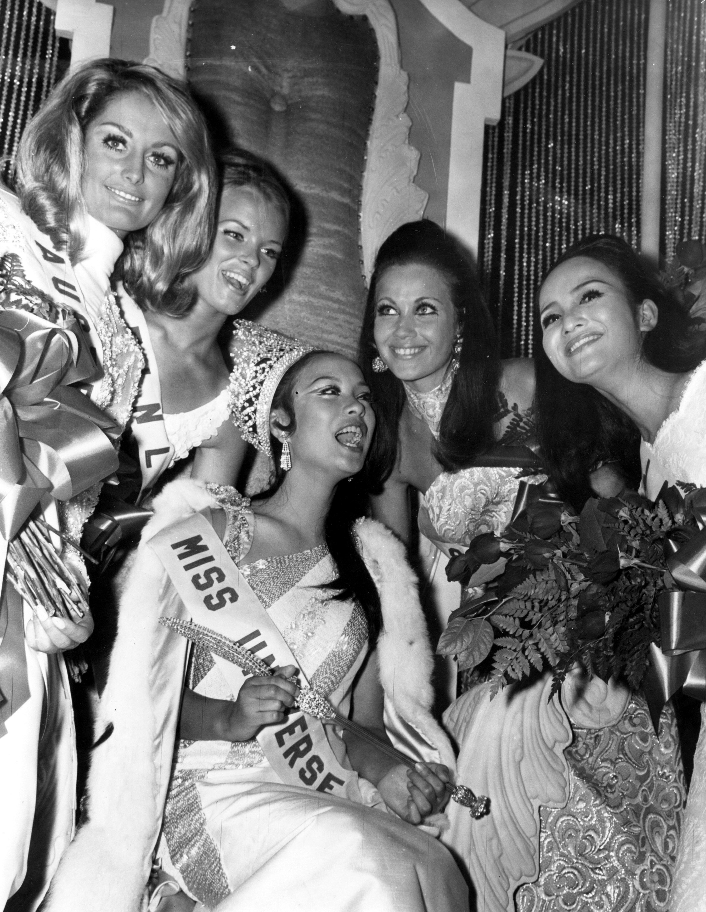 MISS UNIVERSE 1969. Gloria Diaz, Miss Universe 1969, is surrounded by well-wishers after she is crowned during the 18th edition of the pageant. Photo from Miss Universe Organization