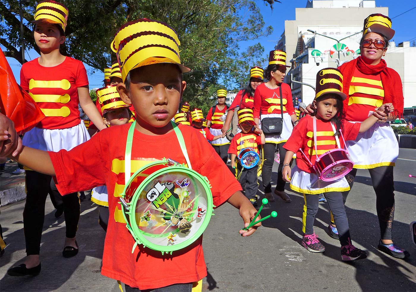 LITTLE DRUMMERS. Kids and parents dress up as little drummer boys and girls at the event