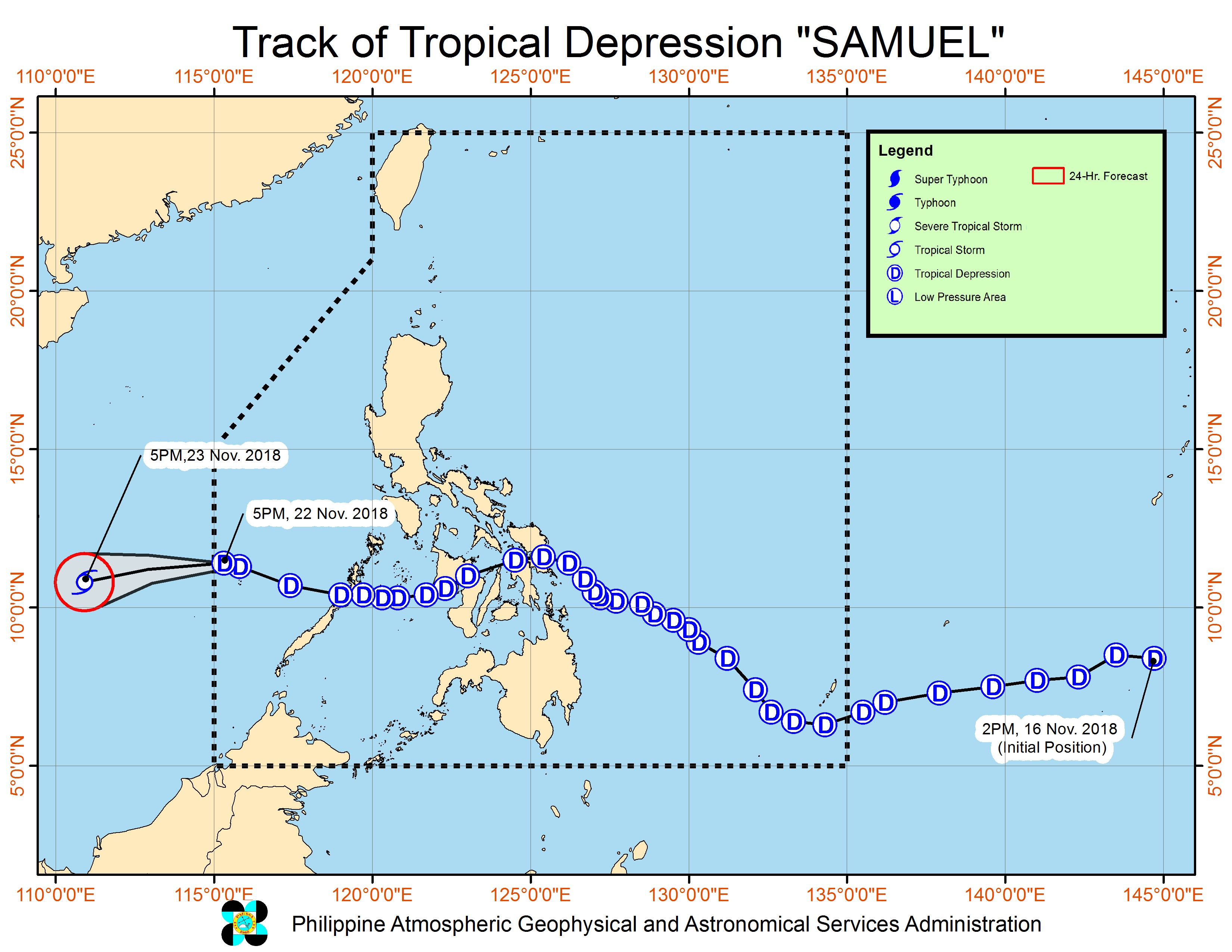 Forecast track of Tropical Depression Samuel as of November 22, 2018, 8 pm. Image from PAGASA
