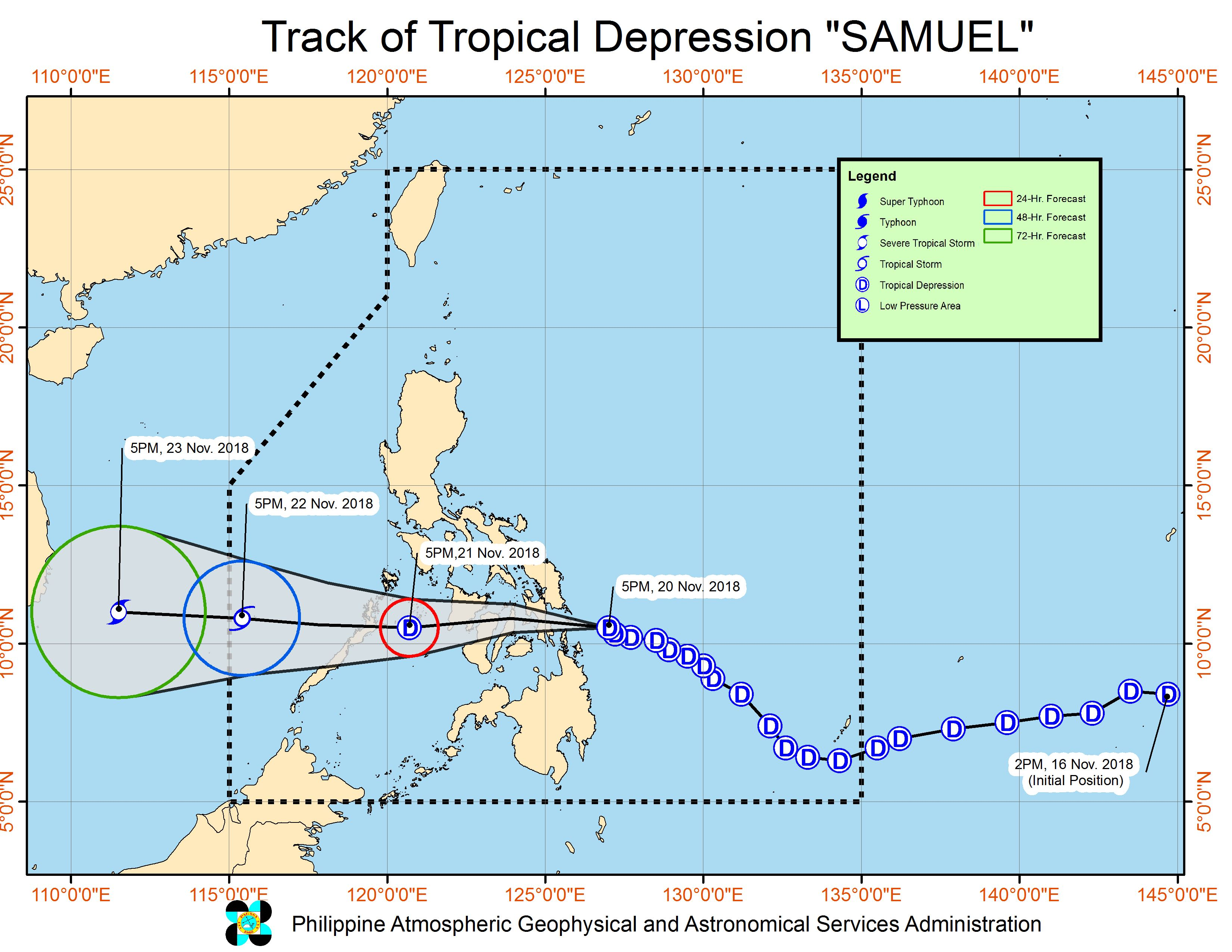Forecast track of Tropical Depression Samuel as of November 20, 2018, 8 pm. Image from PAGASA