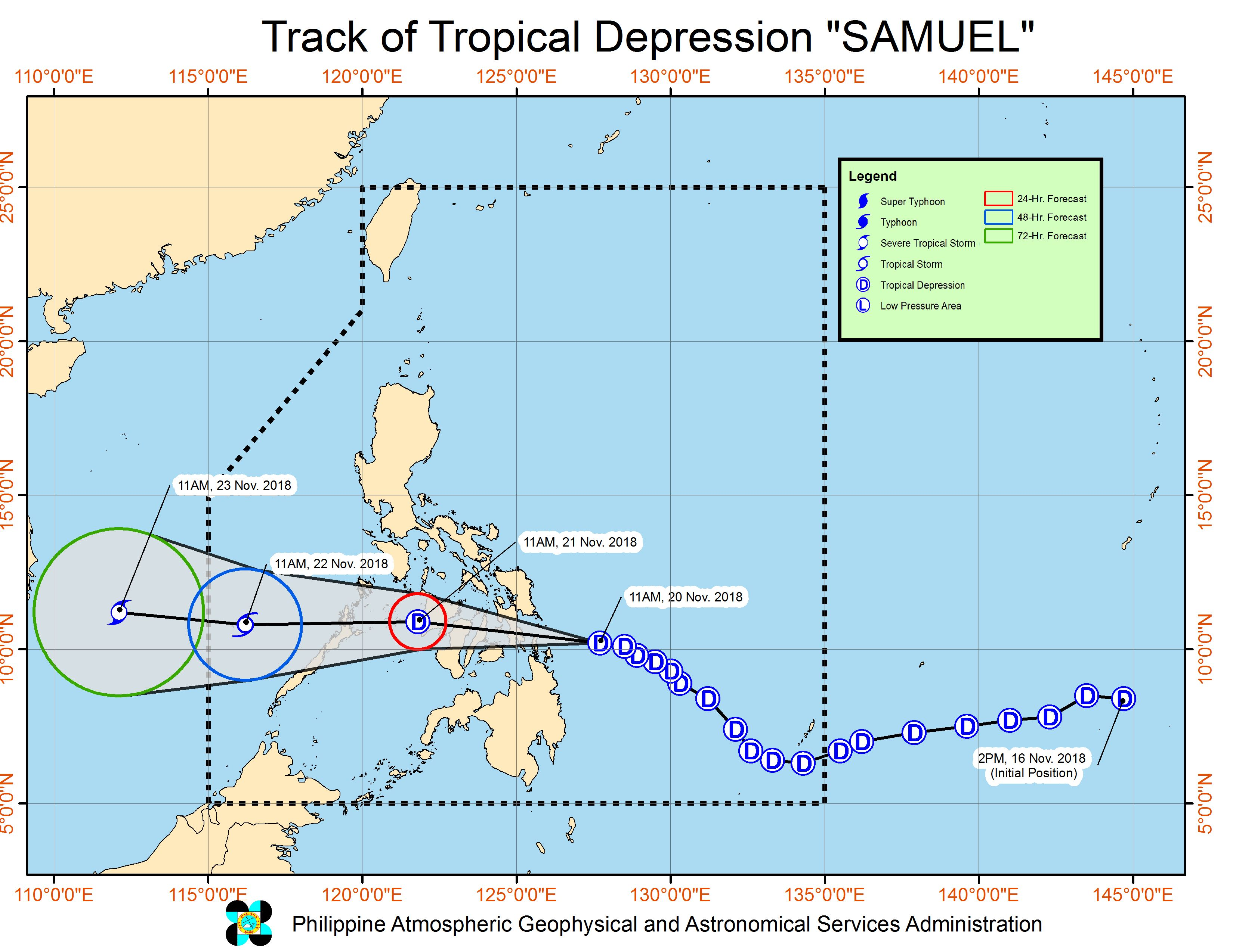 Forecast track of Tropical Depression Samuel as of November 20, 2018, 2 pm. Image from PAGASA