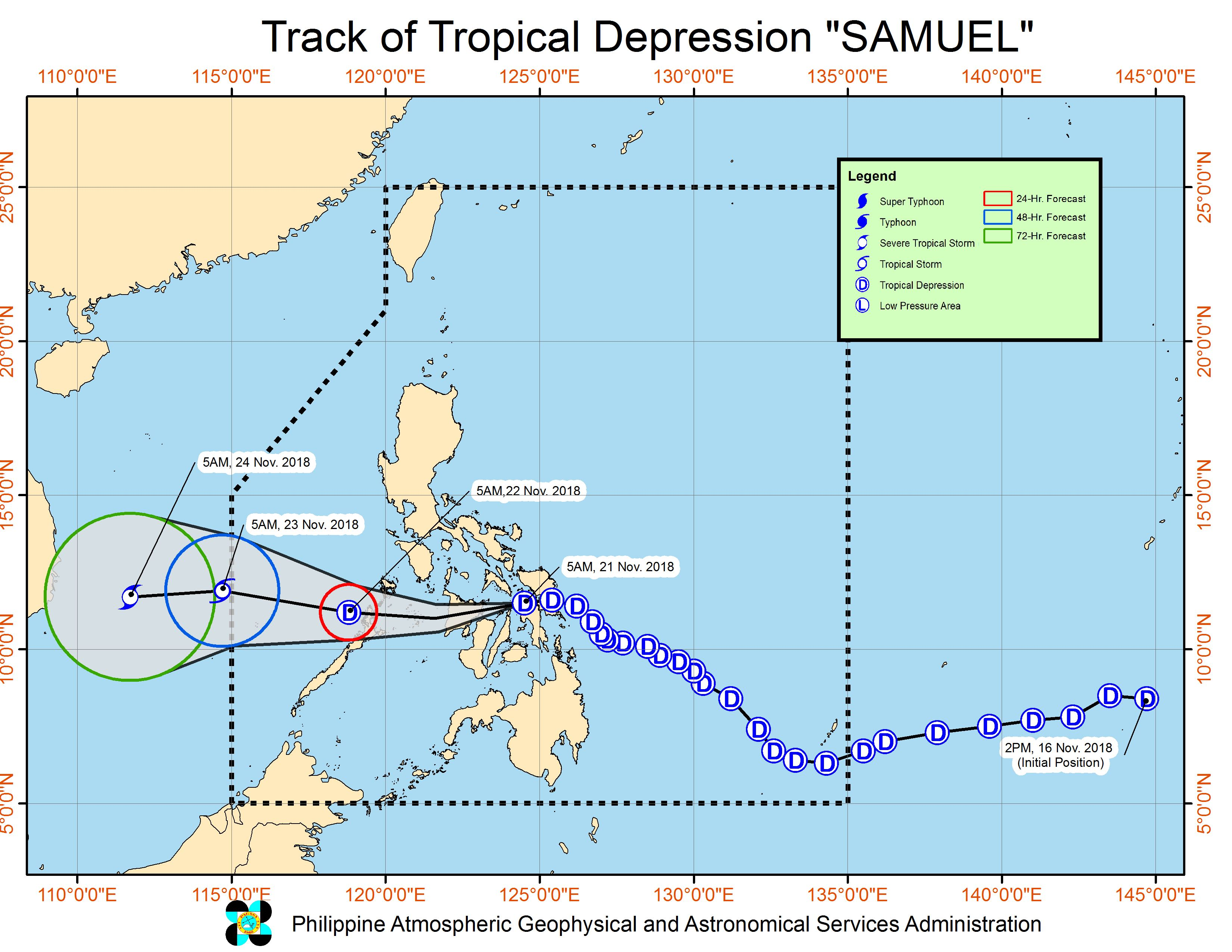 Forecast track of Tropical Depression Samuel as of November 21, 2018, 8 am. Image from PAGASA