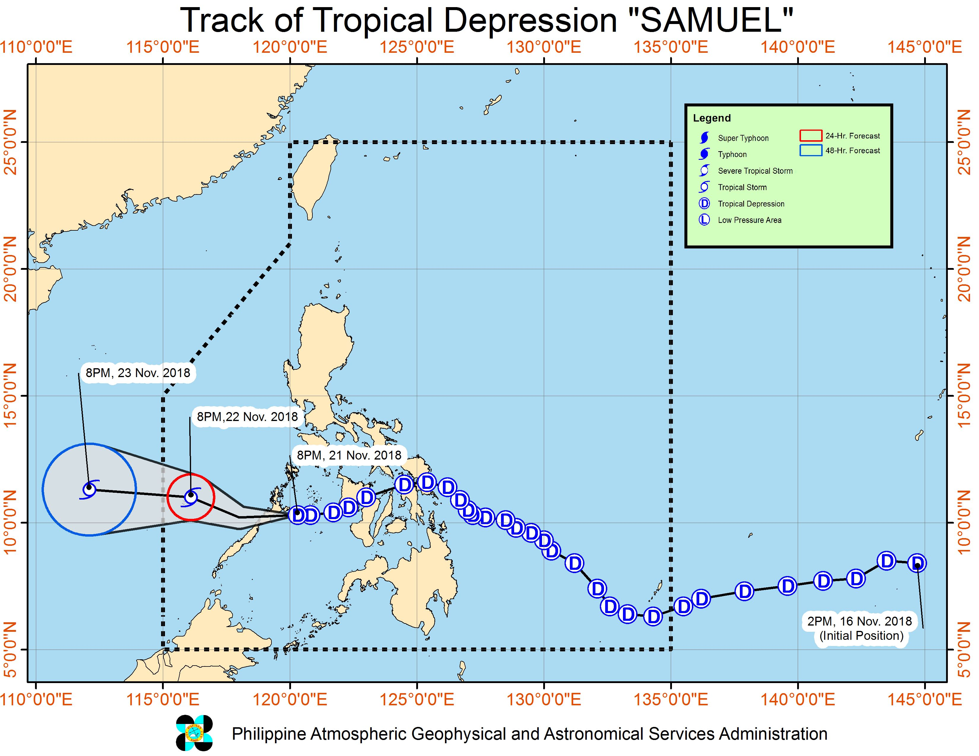 Forecast track of Tropical Depression Samuel as of November 21, 2018, 11 pm. Image from PAGASA