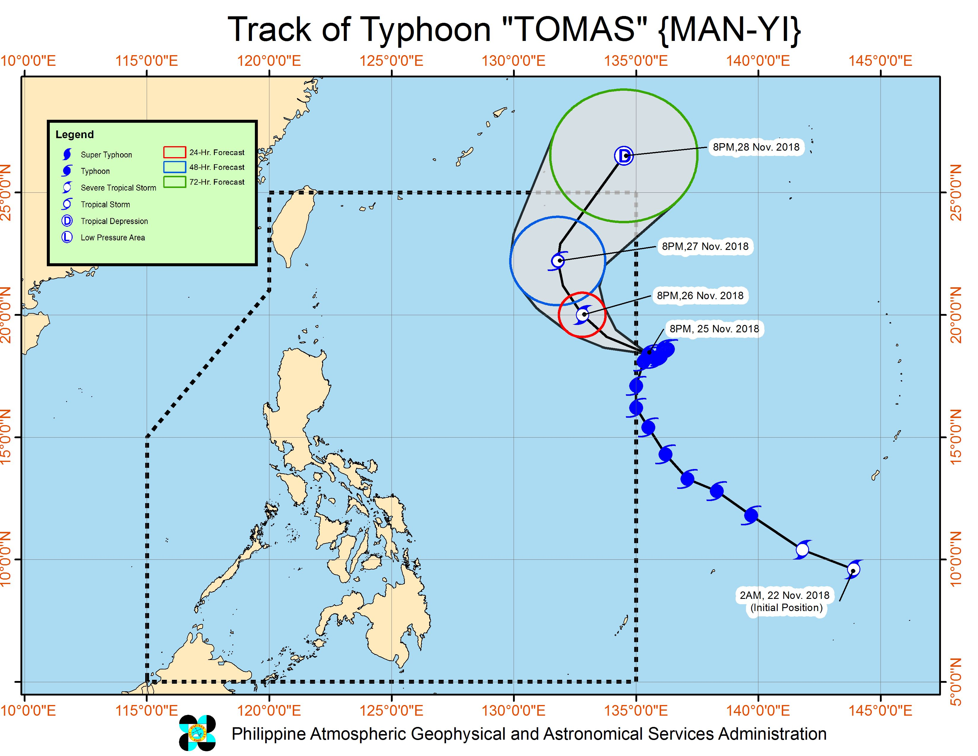 Forecast track of Typhoon Tomas (Man-yi) as of November 25, 2018, 11 pm. Image from PAGASA