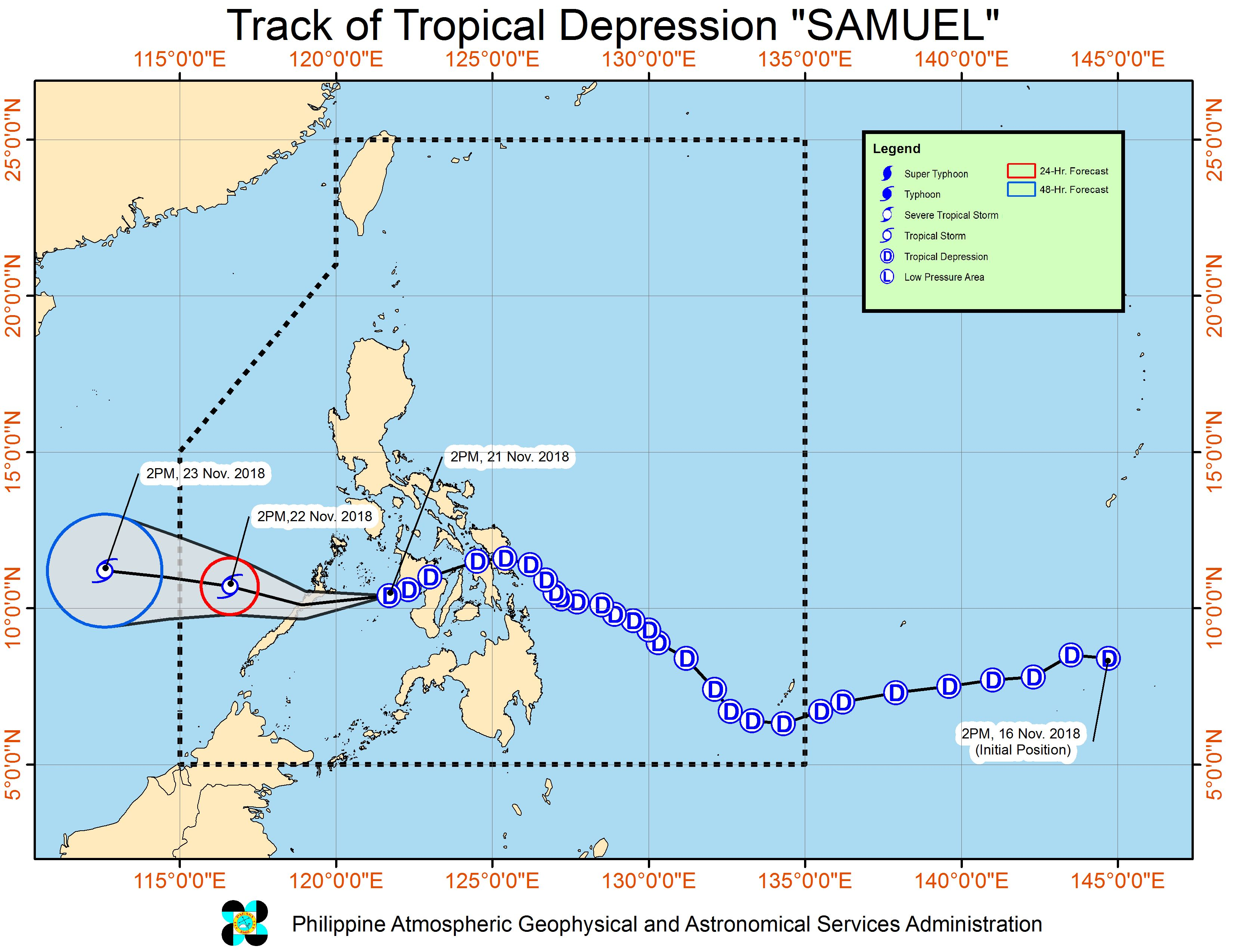 Forecast track of Tropical Depression Samuel as of November 21, 2018, 5 pm. Image from PAGASA