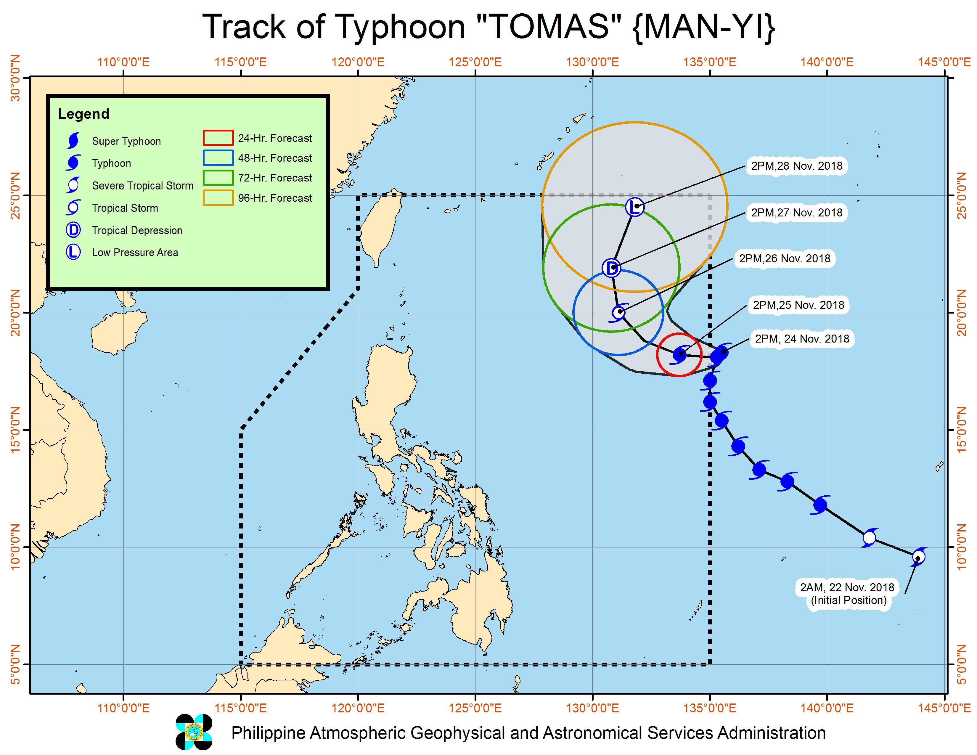 Forecast track of Typhoon Tomas (Man-yi) as of November 24, 2018, 4 pm. Image from PAGASA