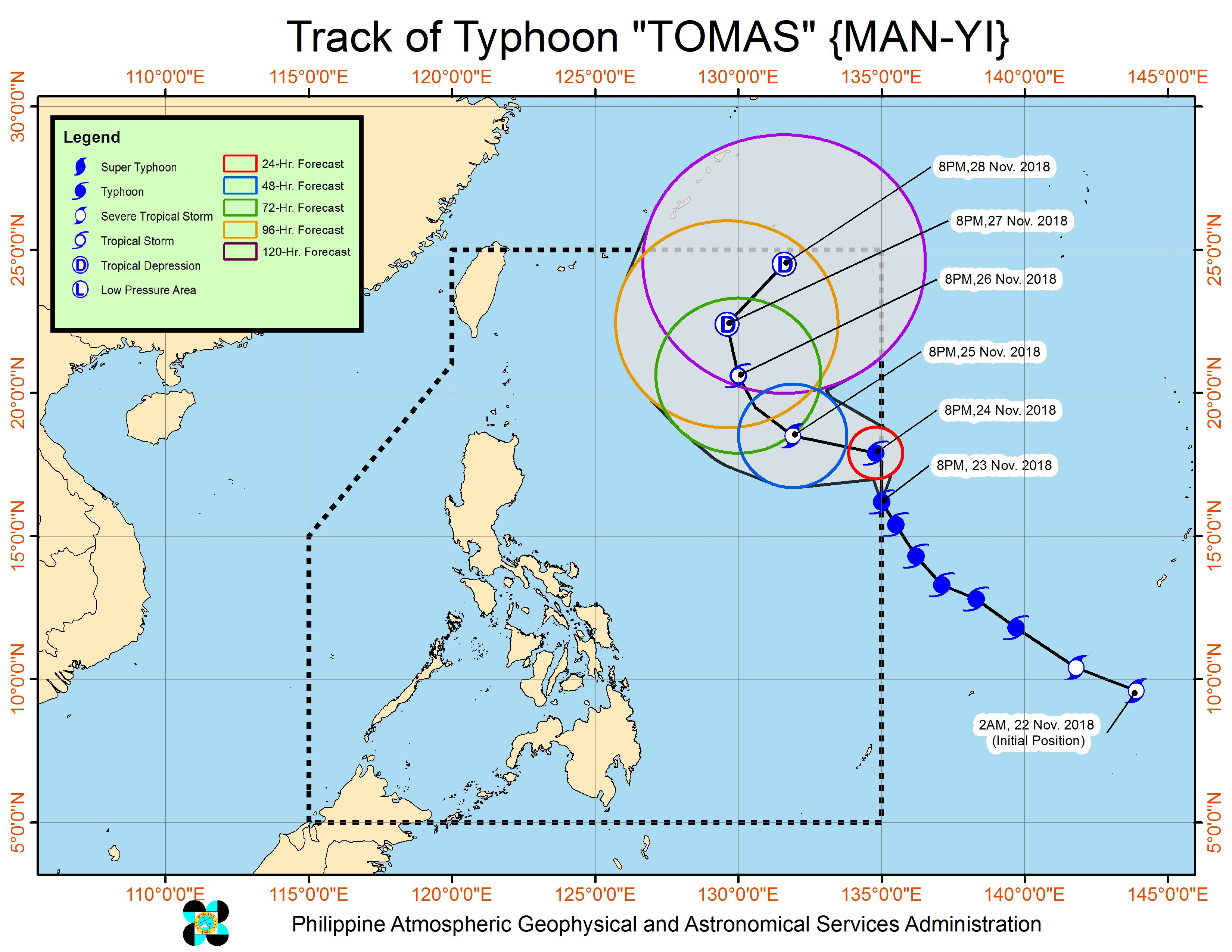 Forecast track of Typhoon Tomas (Man-yi) as of November 23, 2018, 11:30 pm. Image from PAGASA