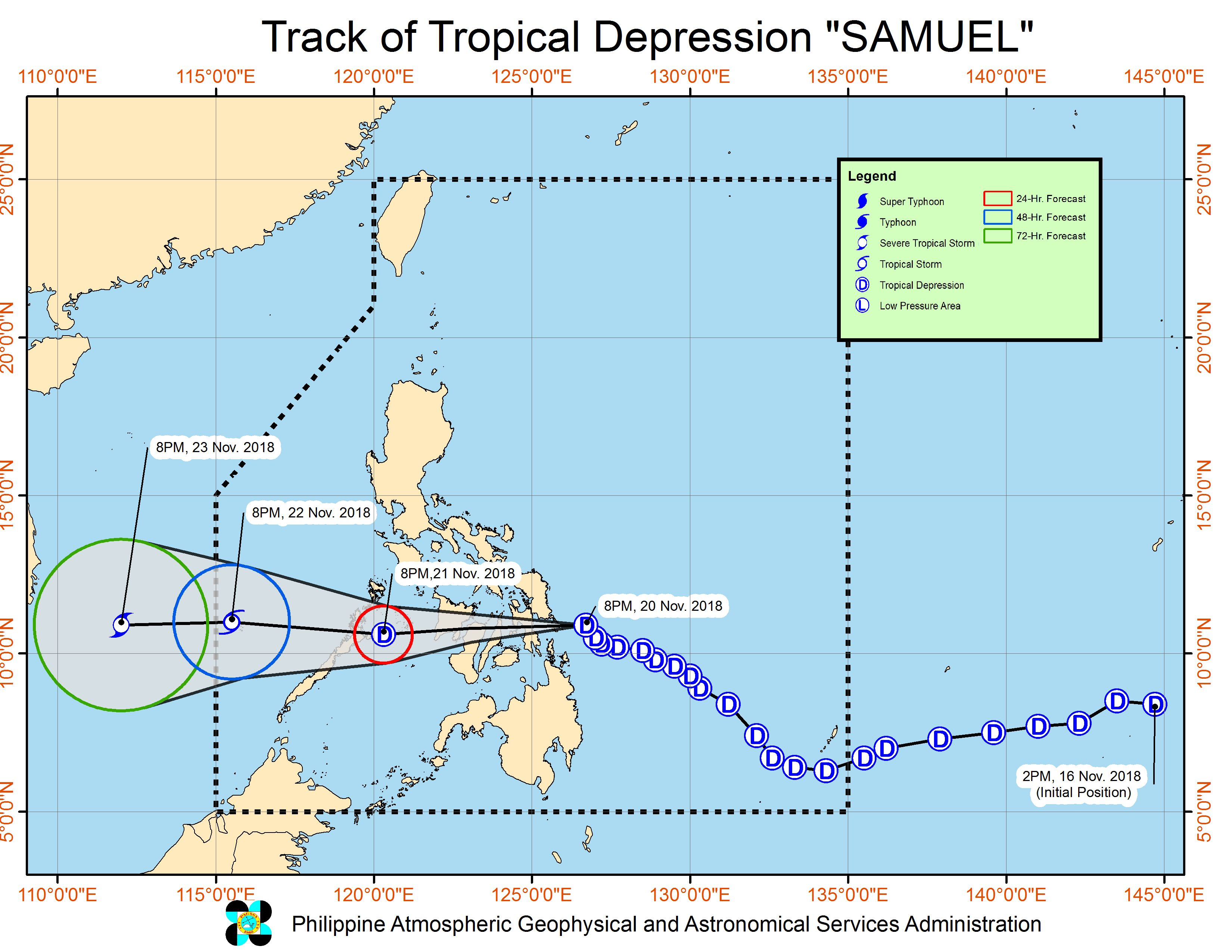 Forecast track of Tropical Depression Samuel as of November 20, 2018, 11 pm. Image from PAGASA