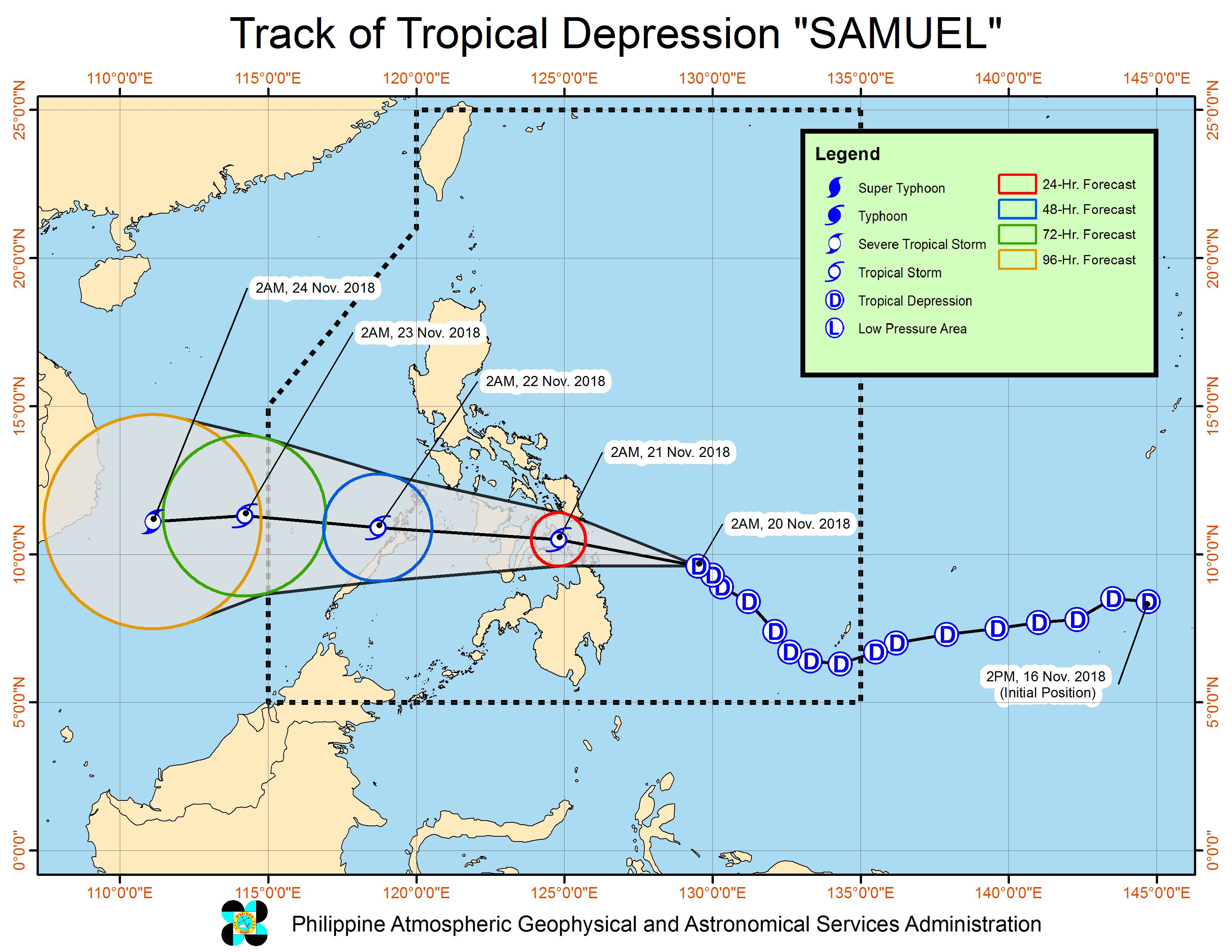 Forecast track of Tropical Depression Samuel as of November 20, 2018, 5 am. Image from PAGASA